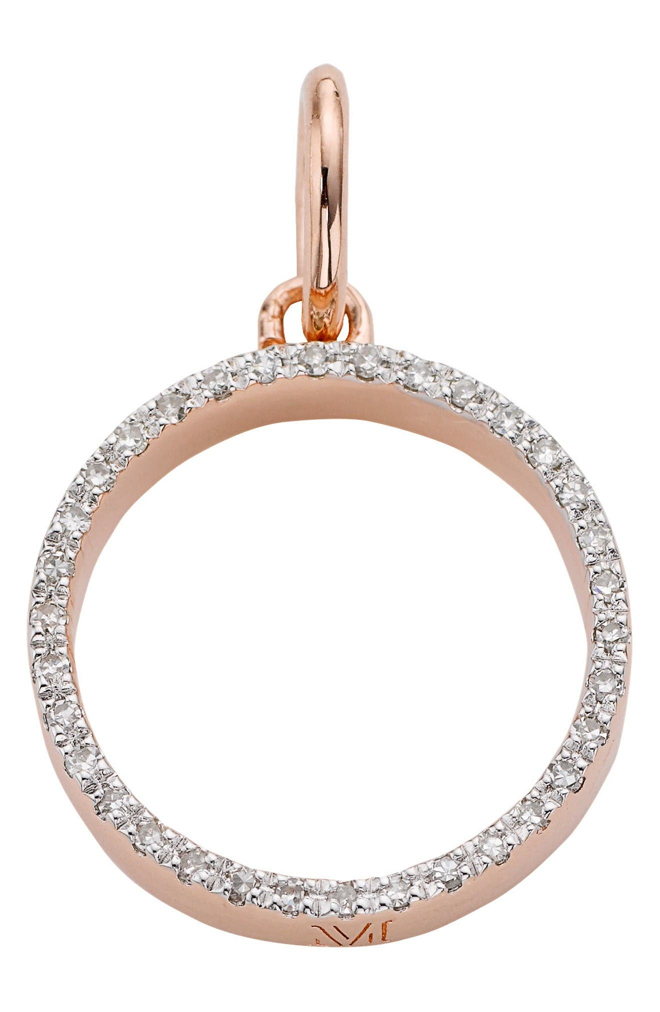 Main Image - Monica Vinader 'Naida' Open Circle Diamond Pendant
