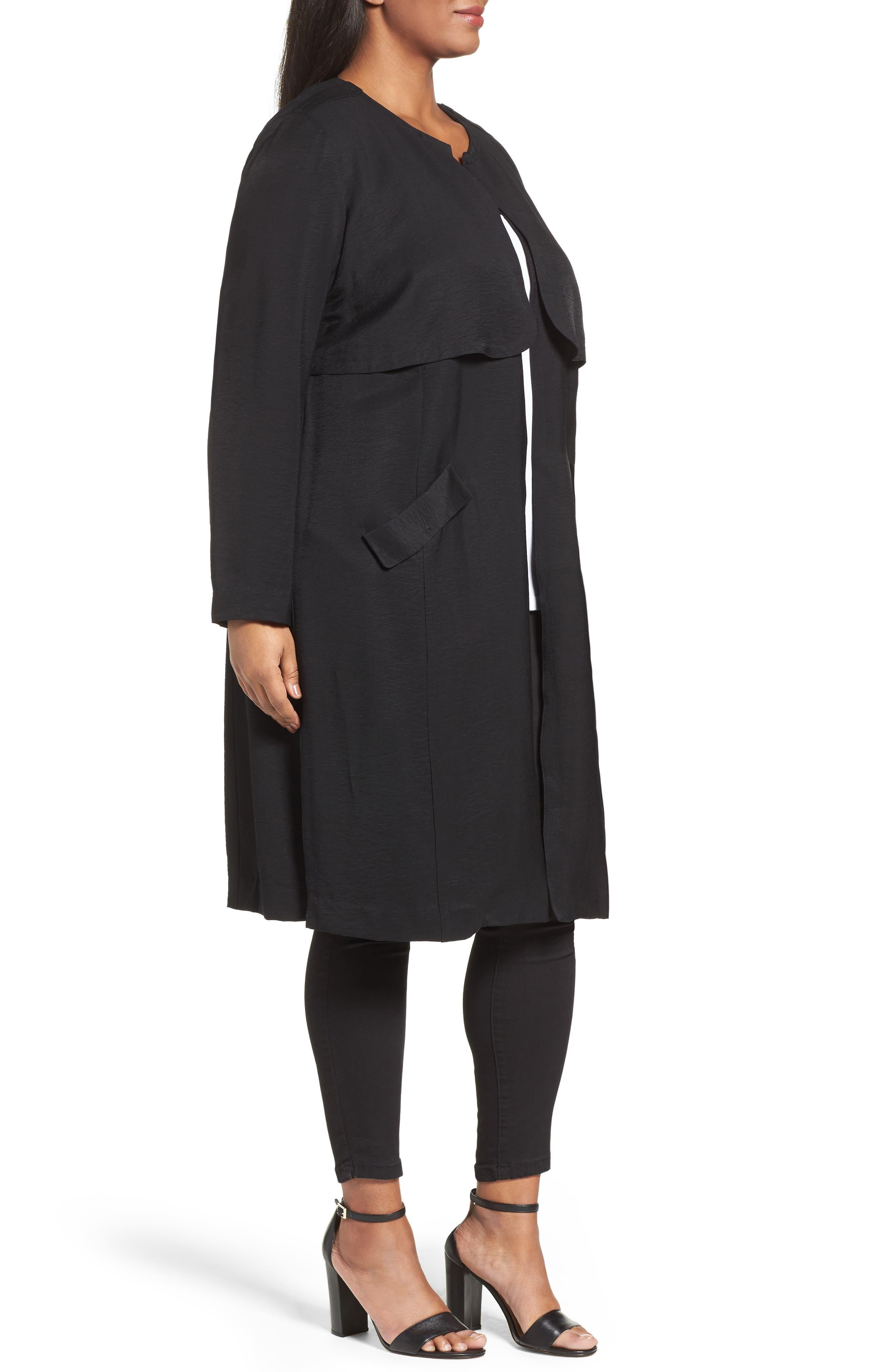 Alternate Image 3  - Sejour Long Open Front Trench Coat (Plus Size)