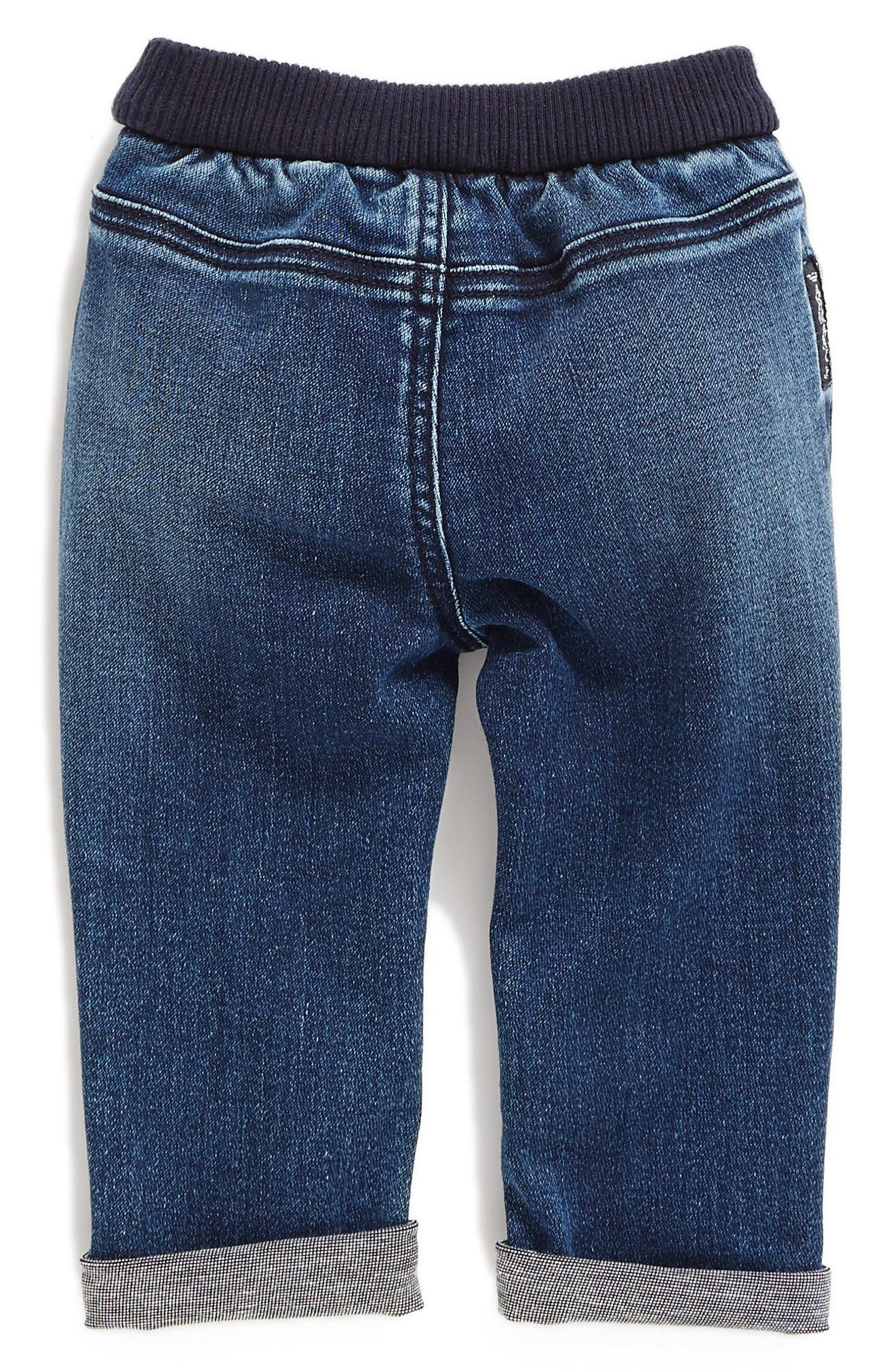 Alternate Image 2  - Armani Junior Elastic Waist Cuffed Jeans (Baby Boys)