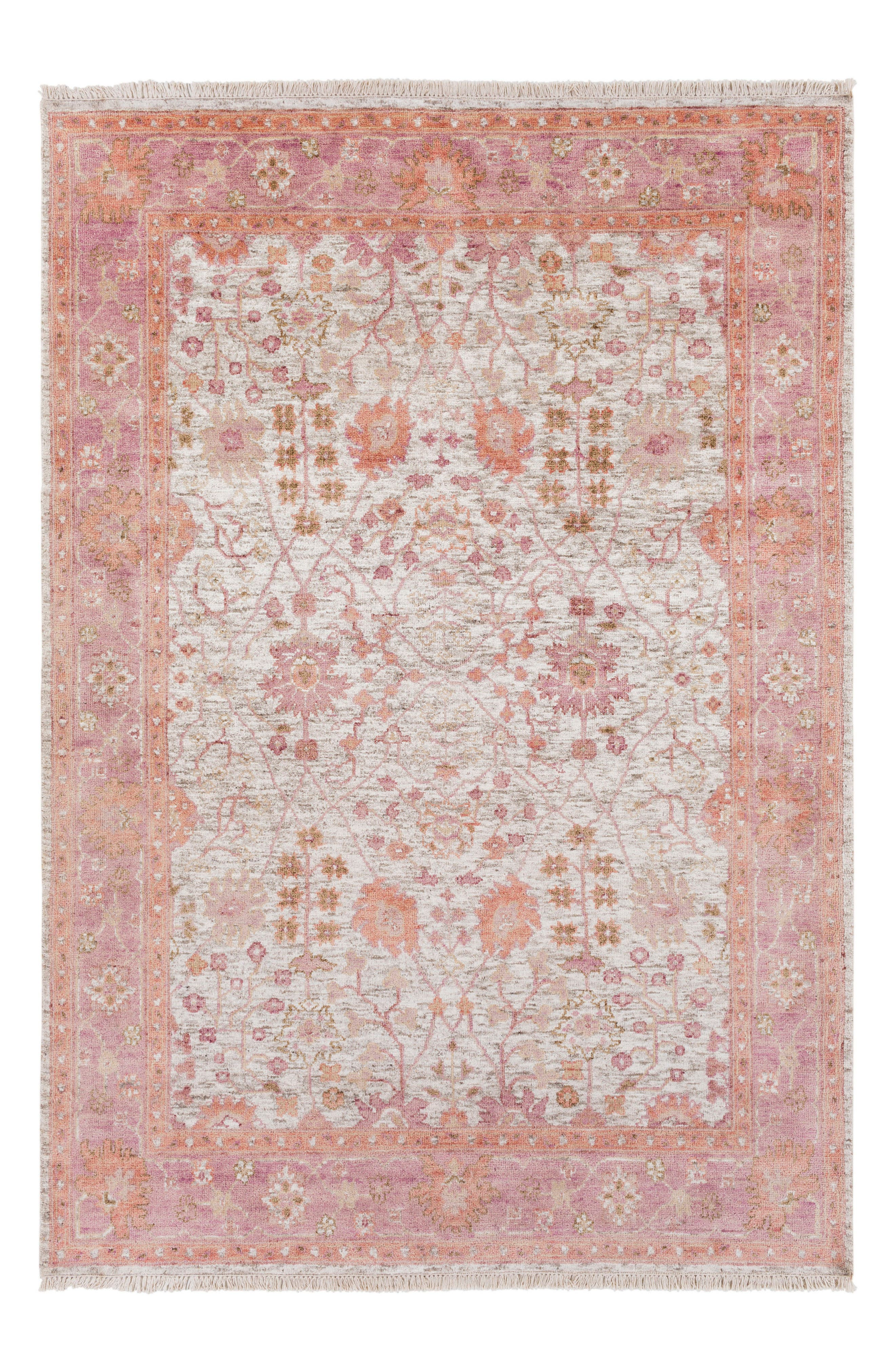 Maeva Classic Hand Knotted Rug,                         Main,                         color, Peach/ Pink