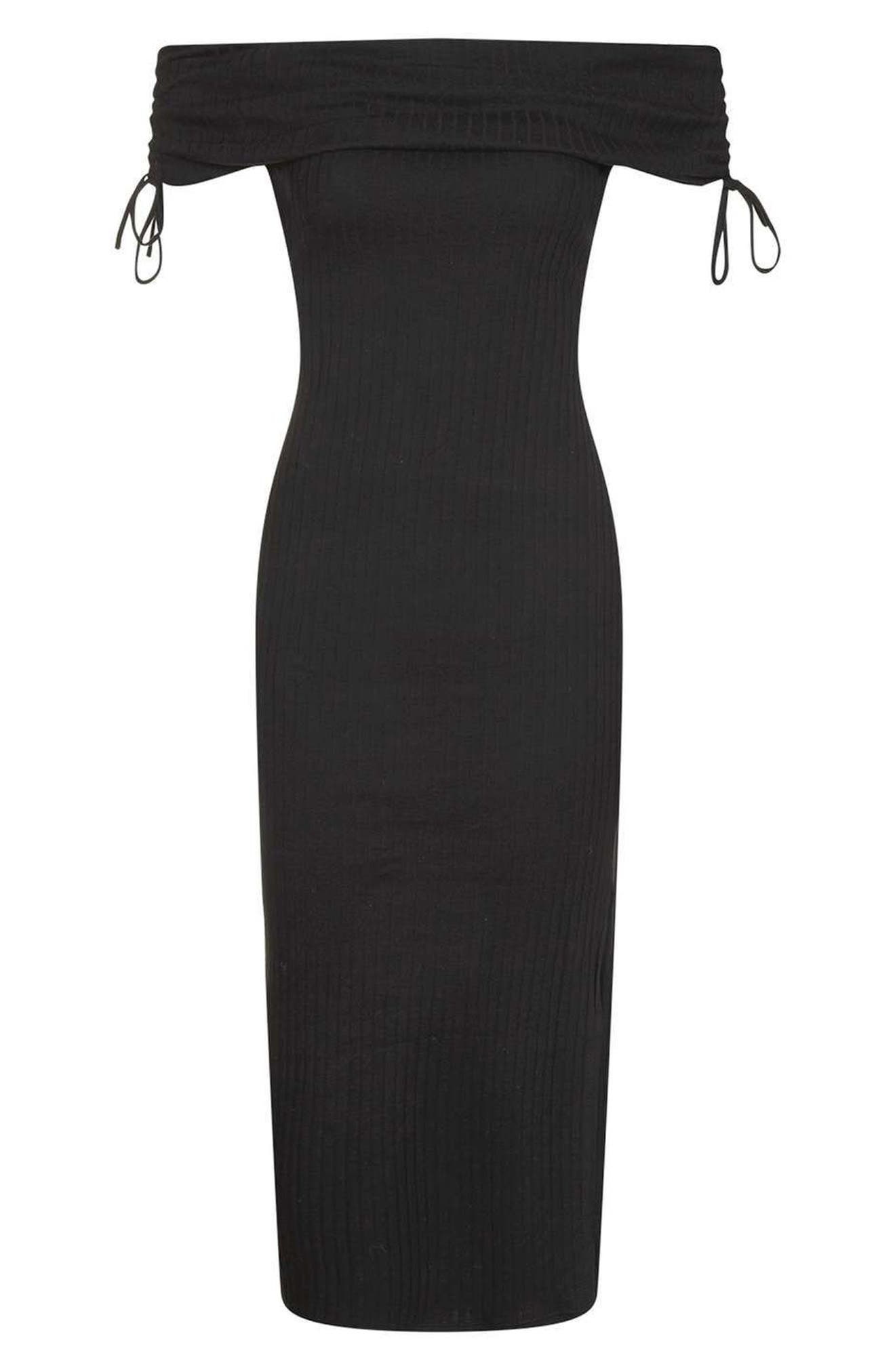 Alternate Image 3  - Topshop Bardot Ribbed Midi Dress