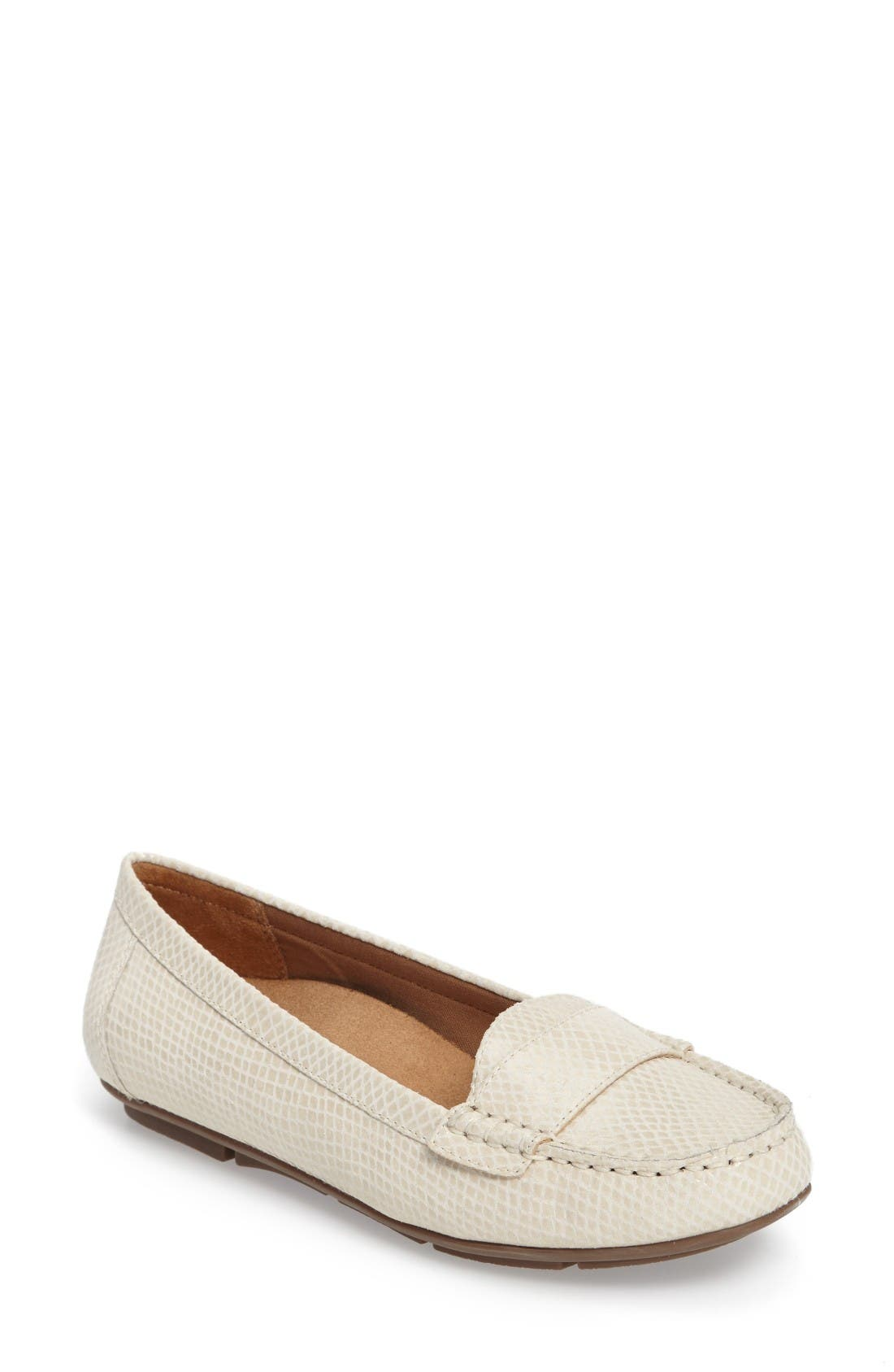 'Larrun' Animal Print Loafer Flat,                         Main,                         color, Ivory Snake Leather