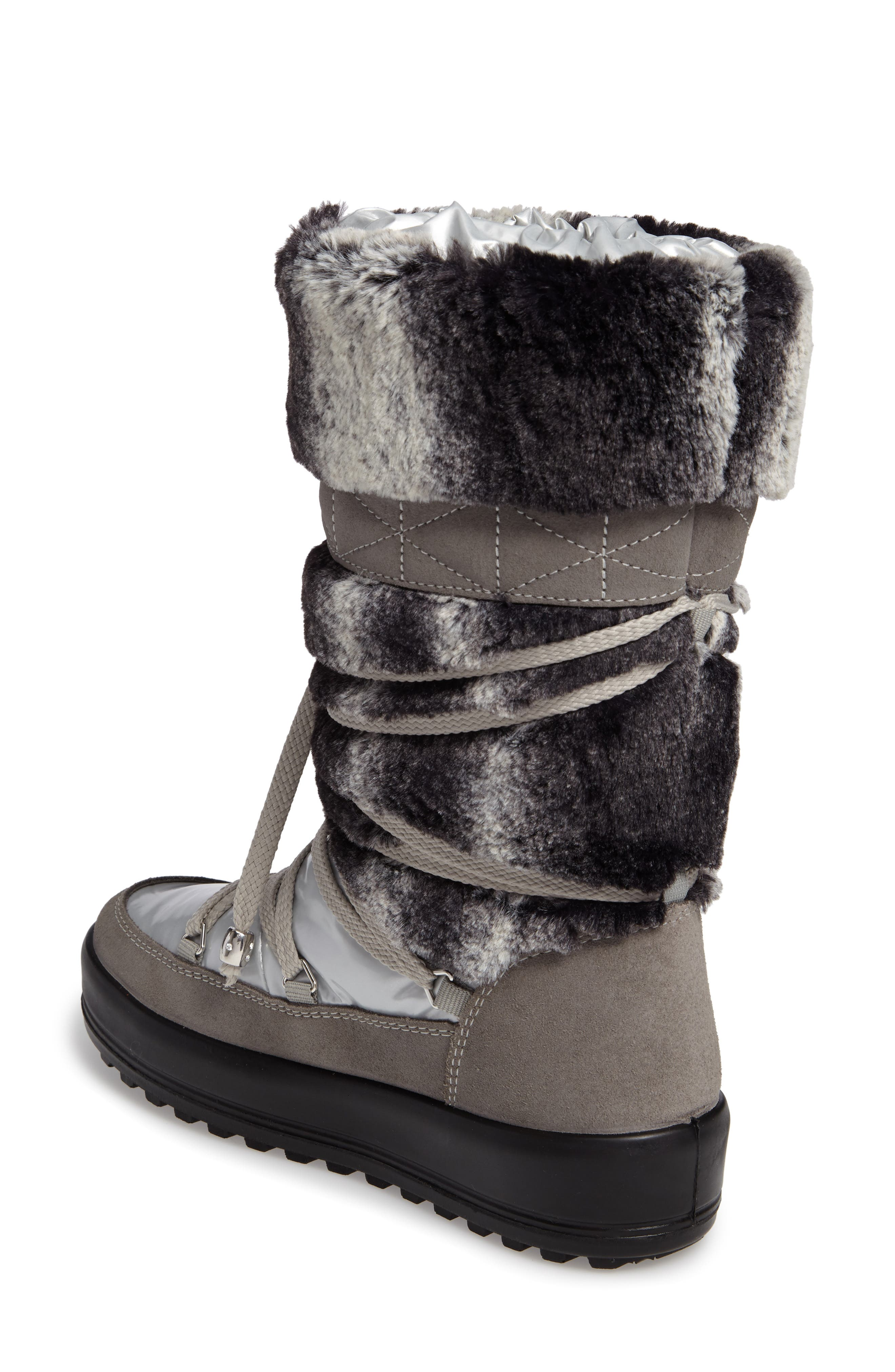 Kitzbuhel Faux Fur Waterproof Quilted Boot,                             Alternate thumbnail 2, color,                             Silver/ Lapin