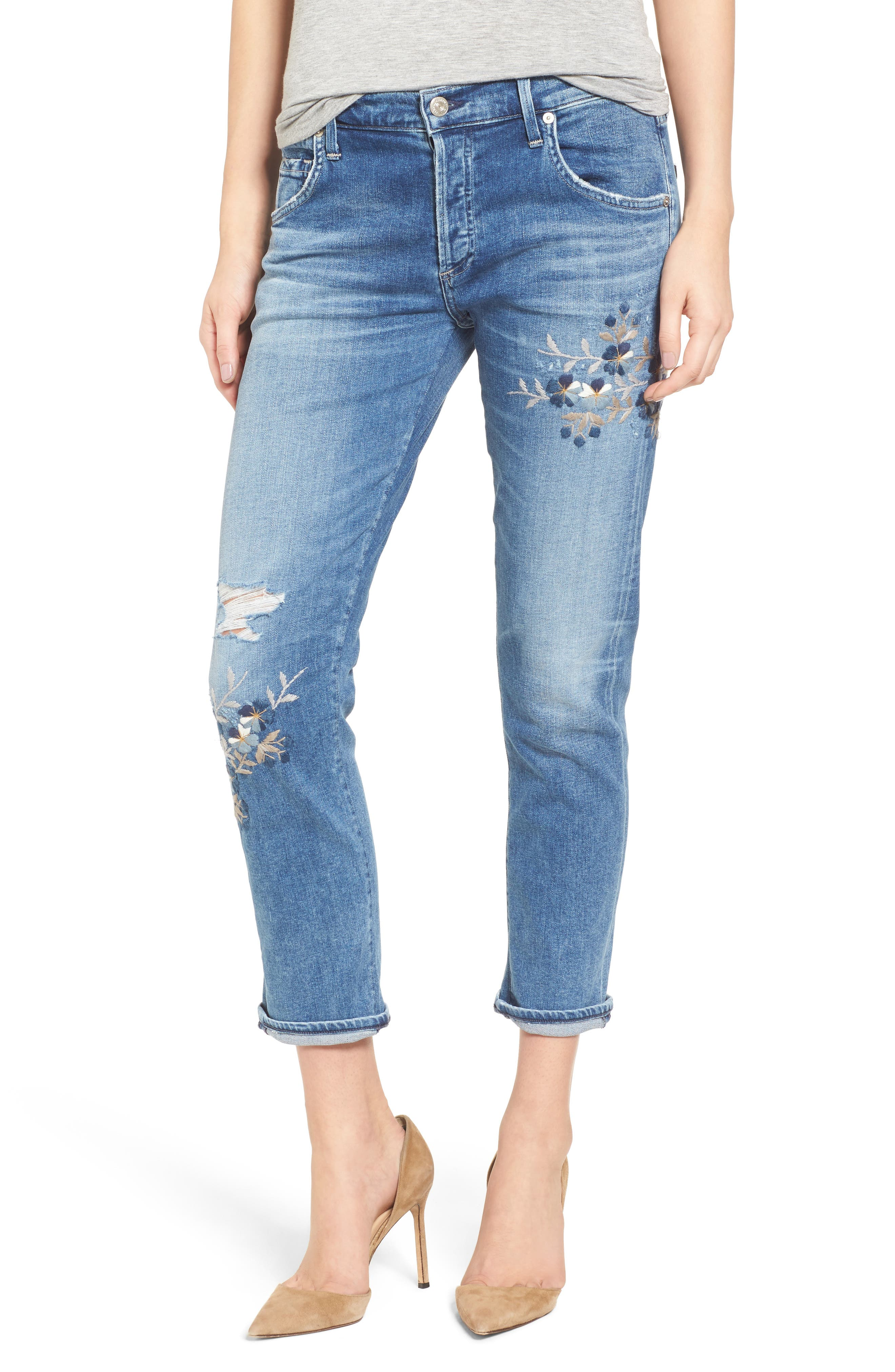 Citizens of Humanity Emerson Embroidered Slim Boyfriend Jeans (Pacifica Blossom)