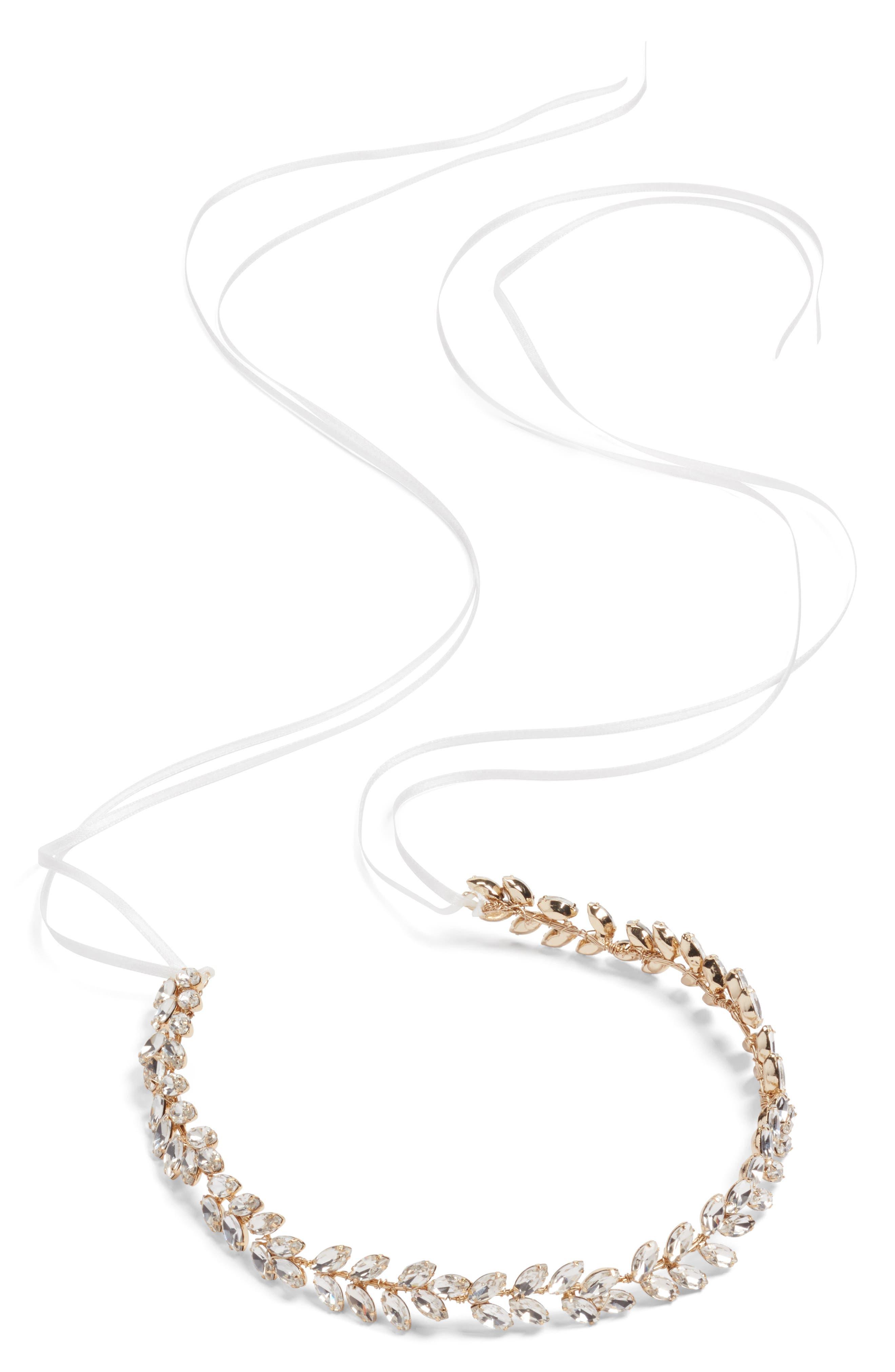 Alternate Image 5  - Brides & Hairpins Alegra Crystal Leaf Halo & Sash