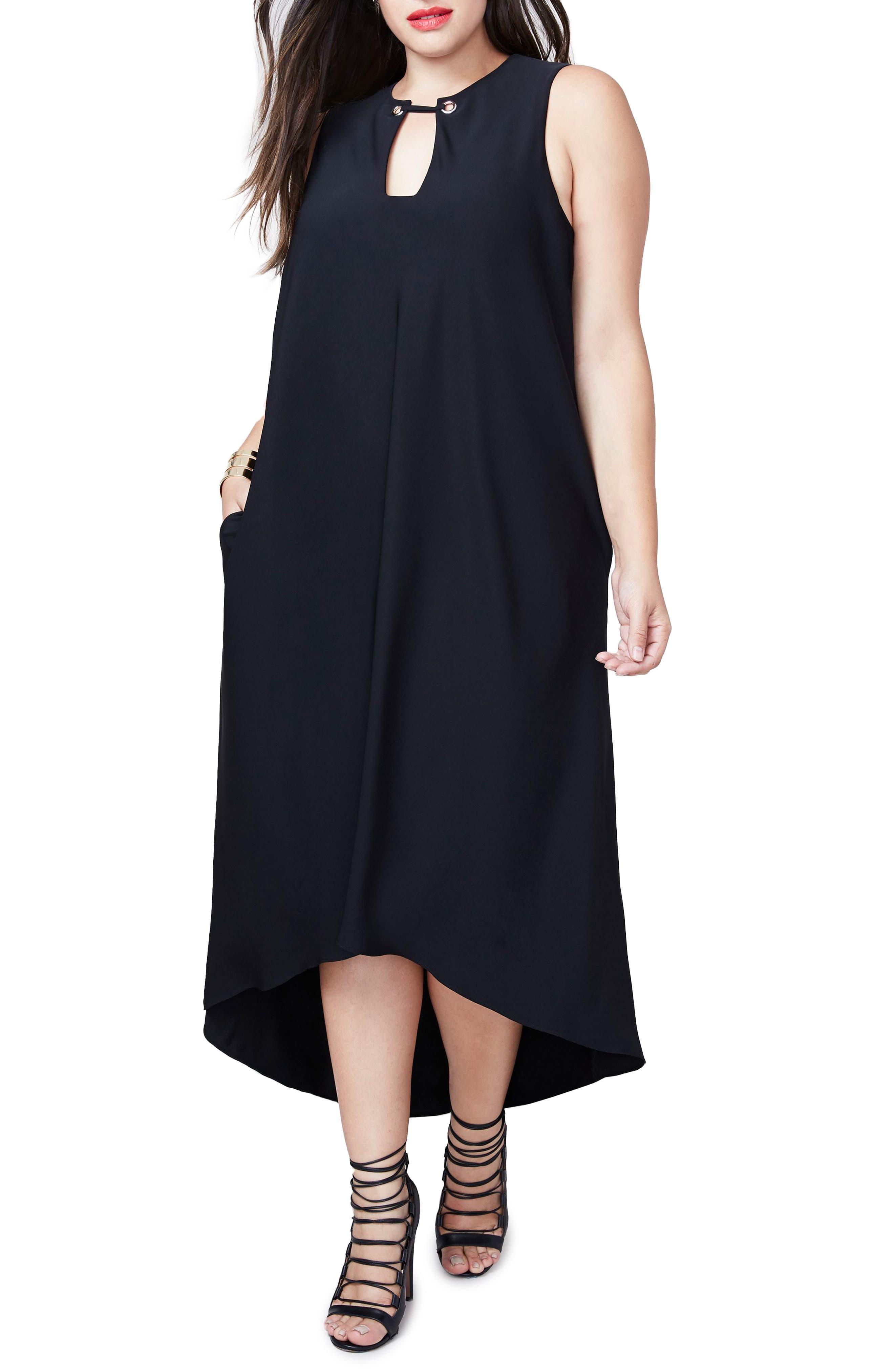 RACHEL Rachel Roy Elliptical Hem Shift Dress,                         Main,                         color, Black