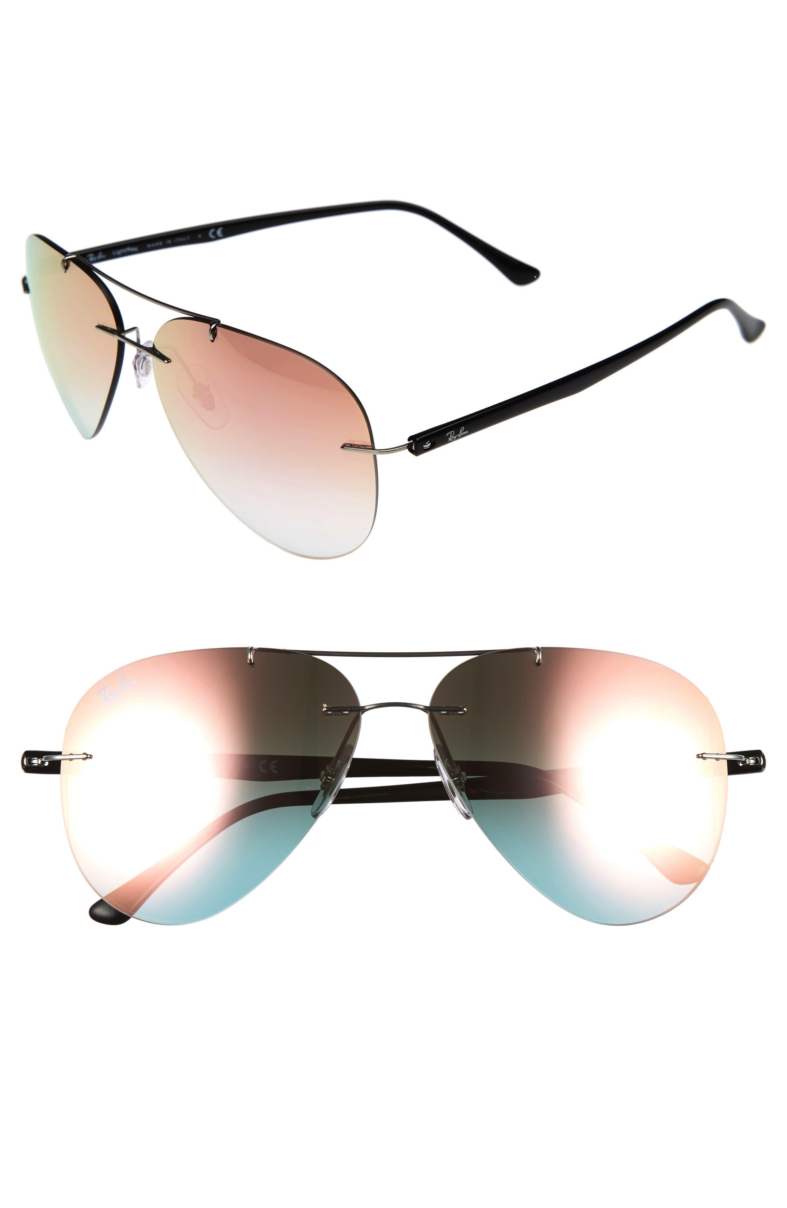 Tech 59mm Aviator Sunglasses,                         Main,                         color, Grey