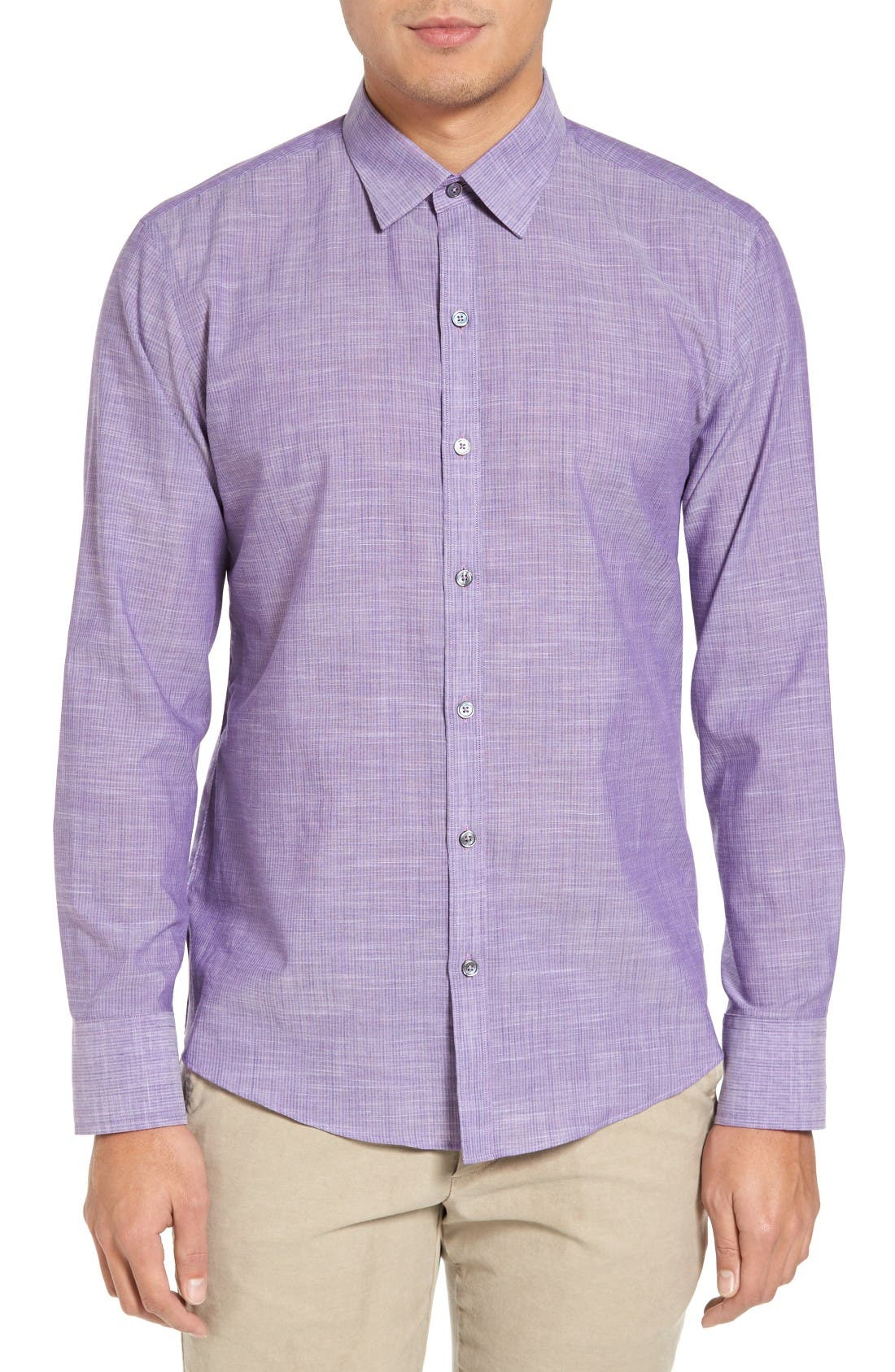 Snower Slim Fit Sport Shirt,                             Main thumbnail 1, color,                             Purple