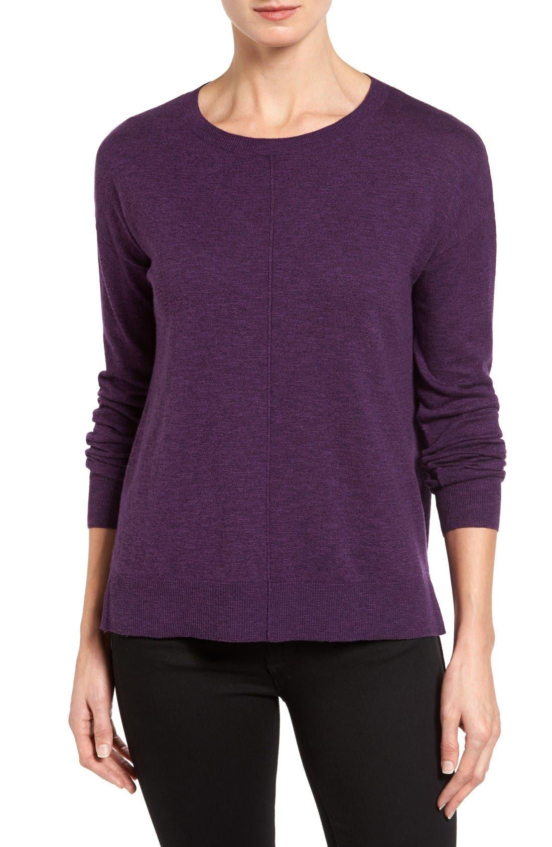 Alternate Image 1 Selected - Halogen® Seam Detail High/Low Sweater (Regular & Petite)