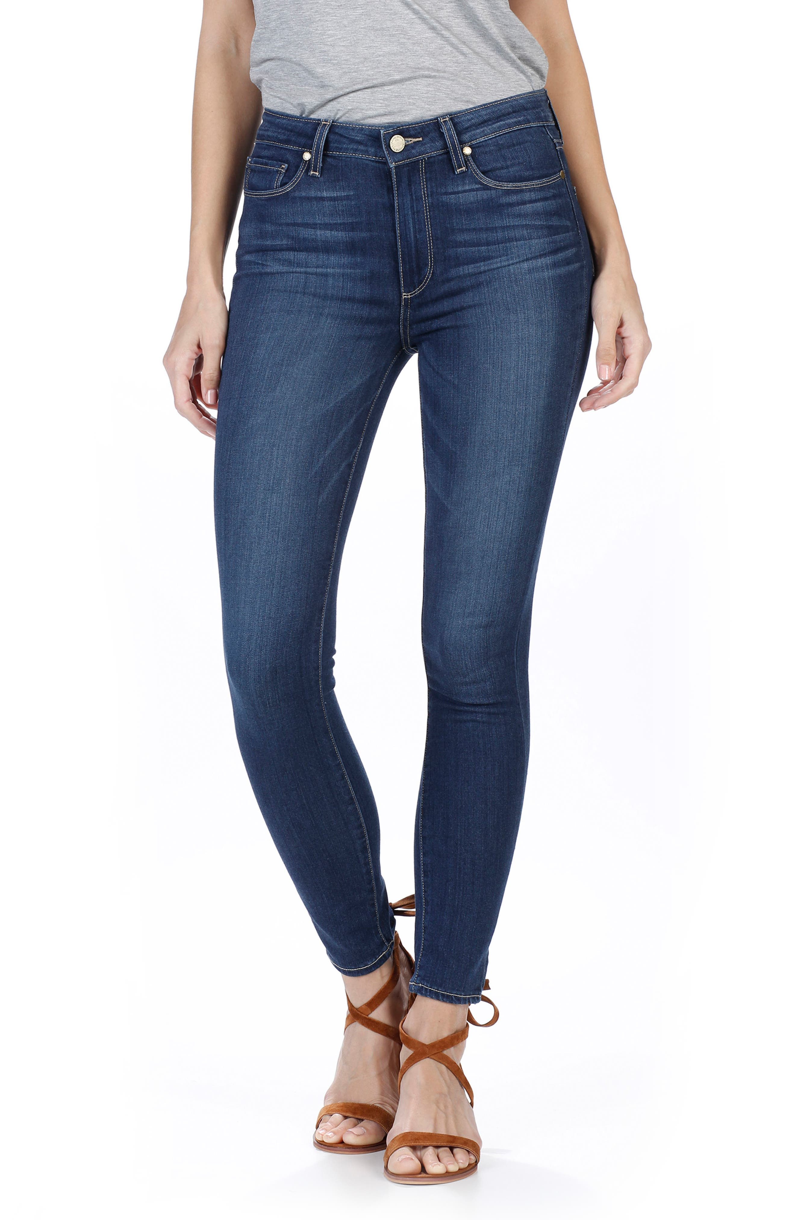 Alternate Image 1 Selected - PAIGE Transcend - Hoxton High Waist Ankle Skinny Jeans (Trina)