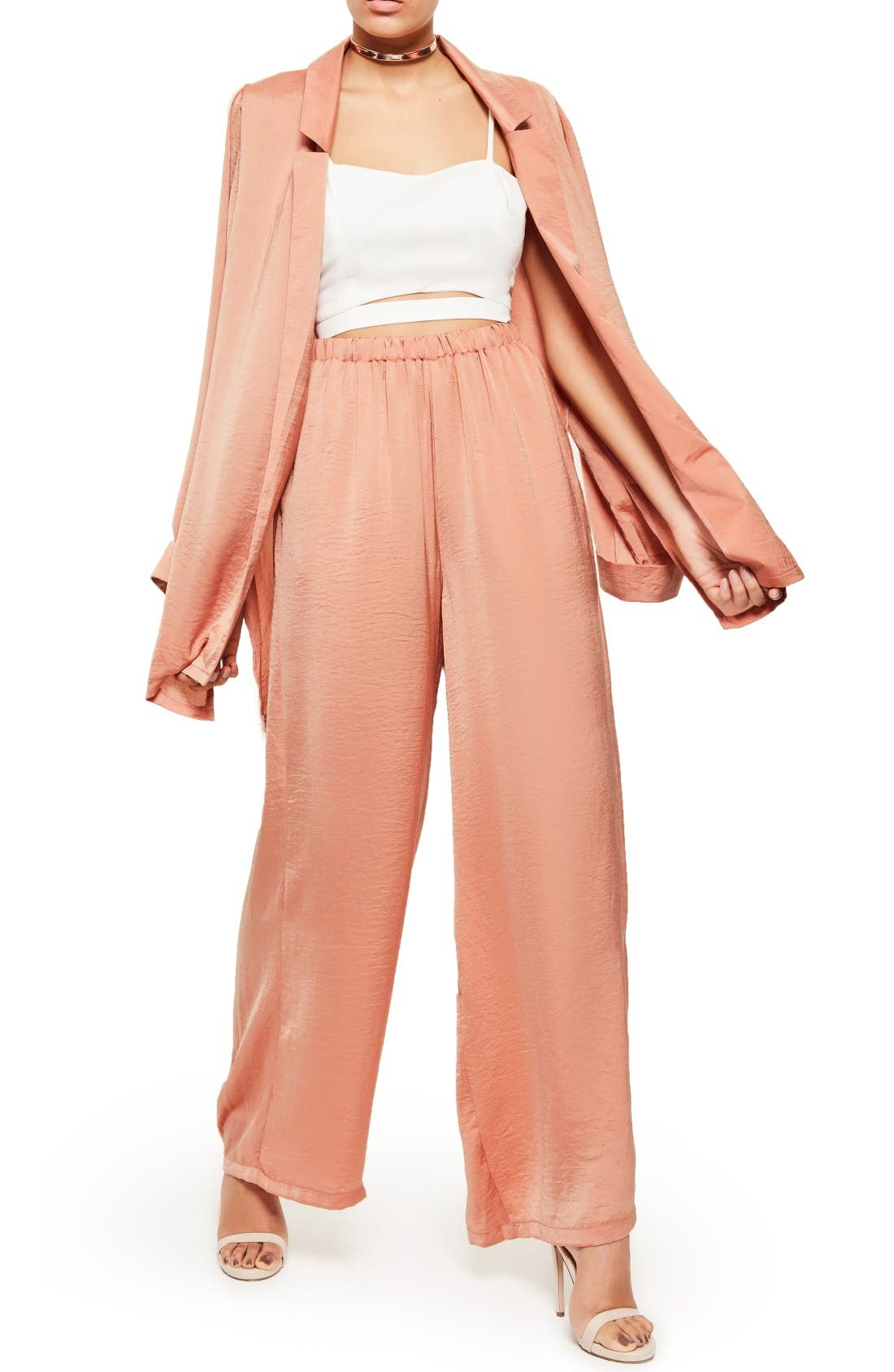 Alternate Image 2  - Missguided Wide Leg Satin Pants
