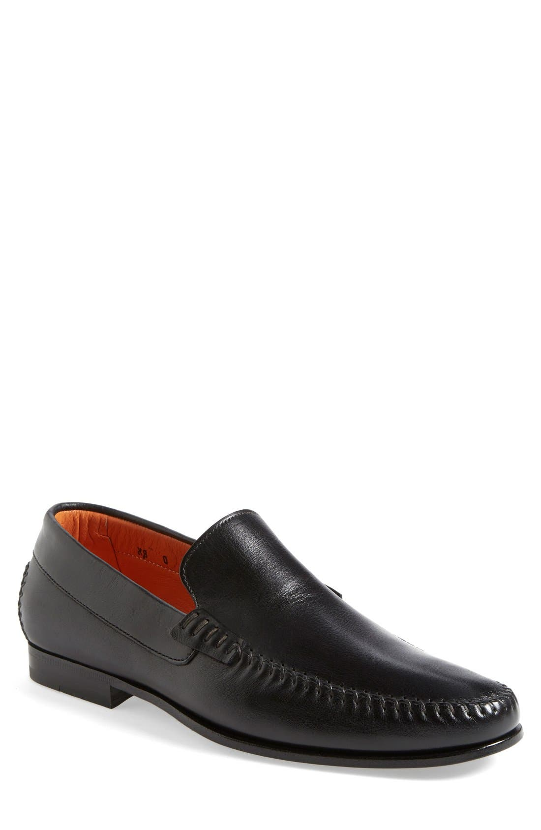 'Auburn' Venetian Loafer,                         Main,                         color, Black Leather