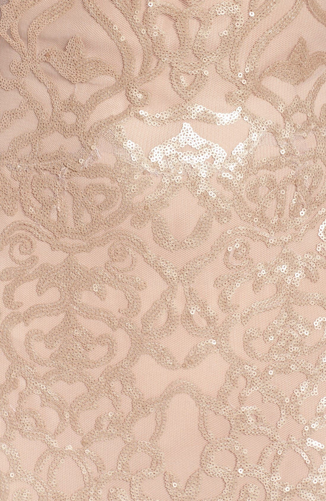 Sequin Embroidered Cowl Back A-Line Gown,                             Alternate thumbnail 5, color,                             Latte