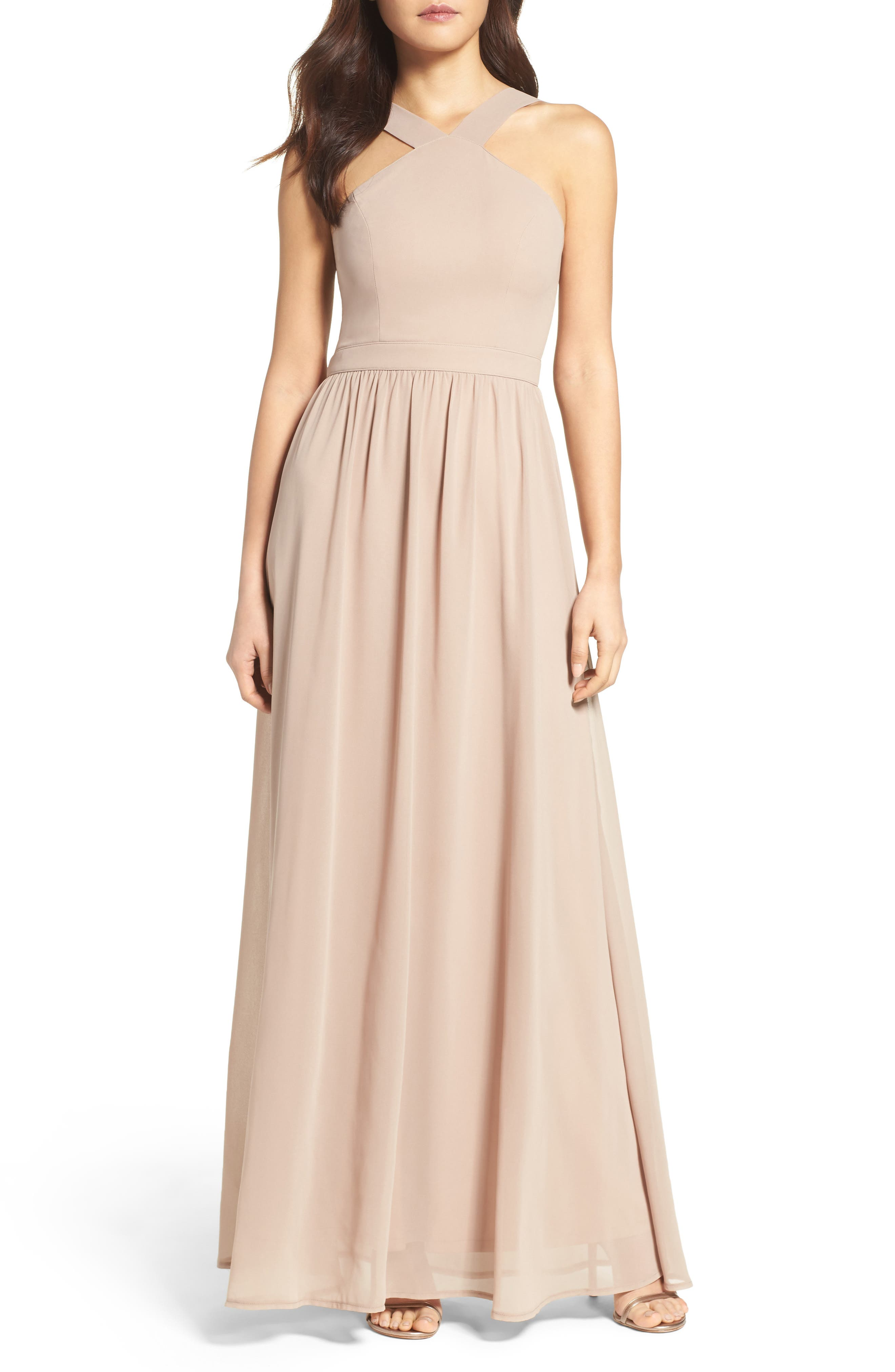 Lulus Cross Neck A-Line Chiffon Gown