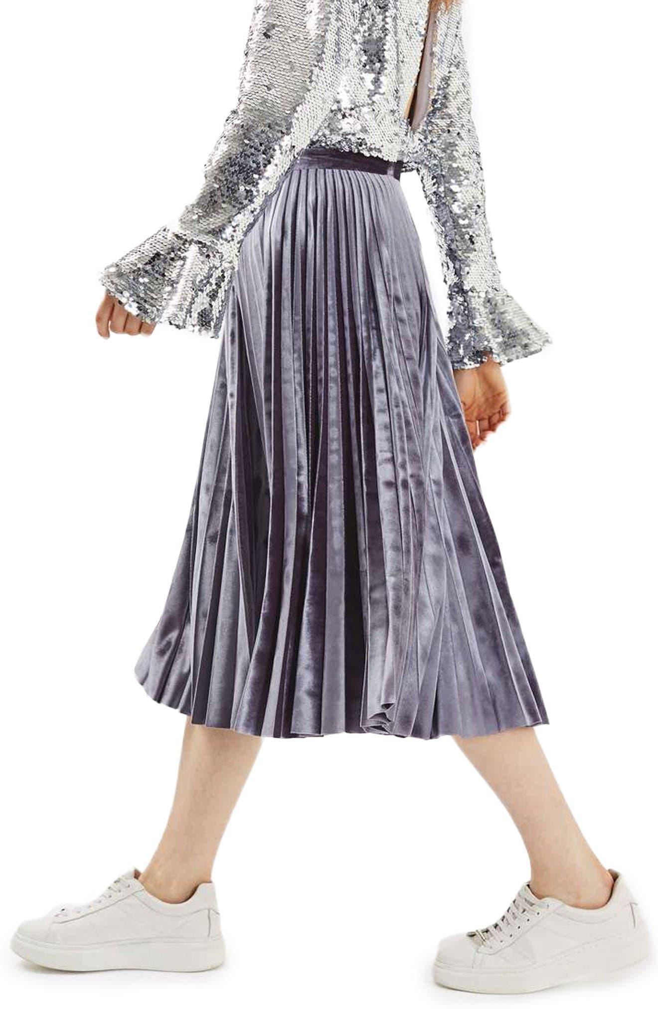 Alternate Image 4  - Topshop Velvet Pleated Midi Skirt