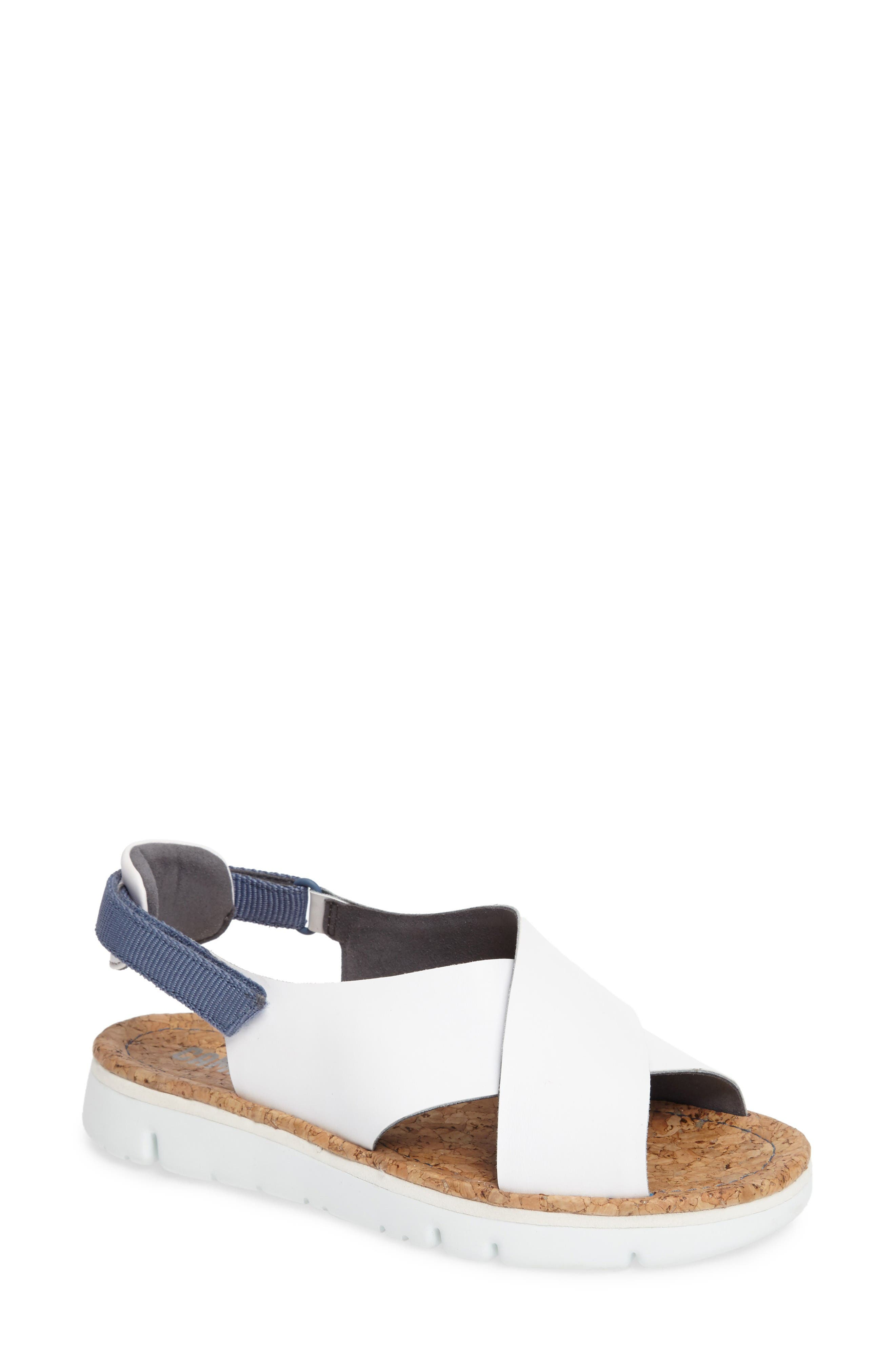'Oruga' Crisscross Sandal,                             Main thumbnail 1, color,                             White Leather