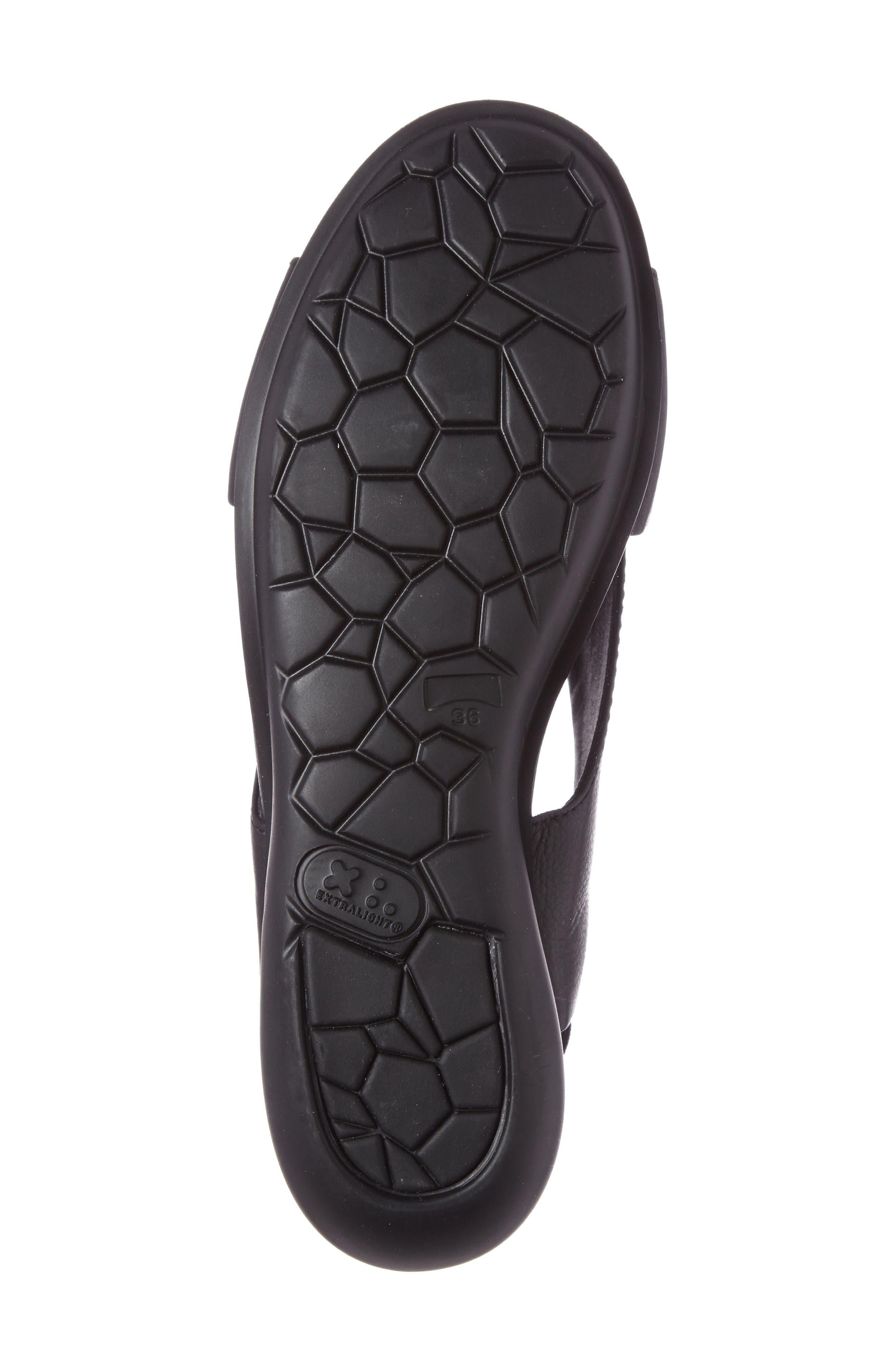 Balloon Slingback Wedge Sandal,                             Alternate thumbnail 4, color,                             Black Leather