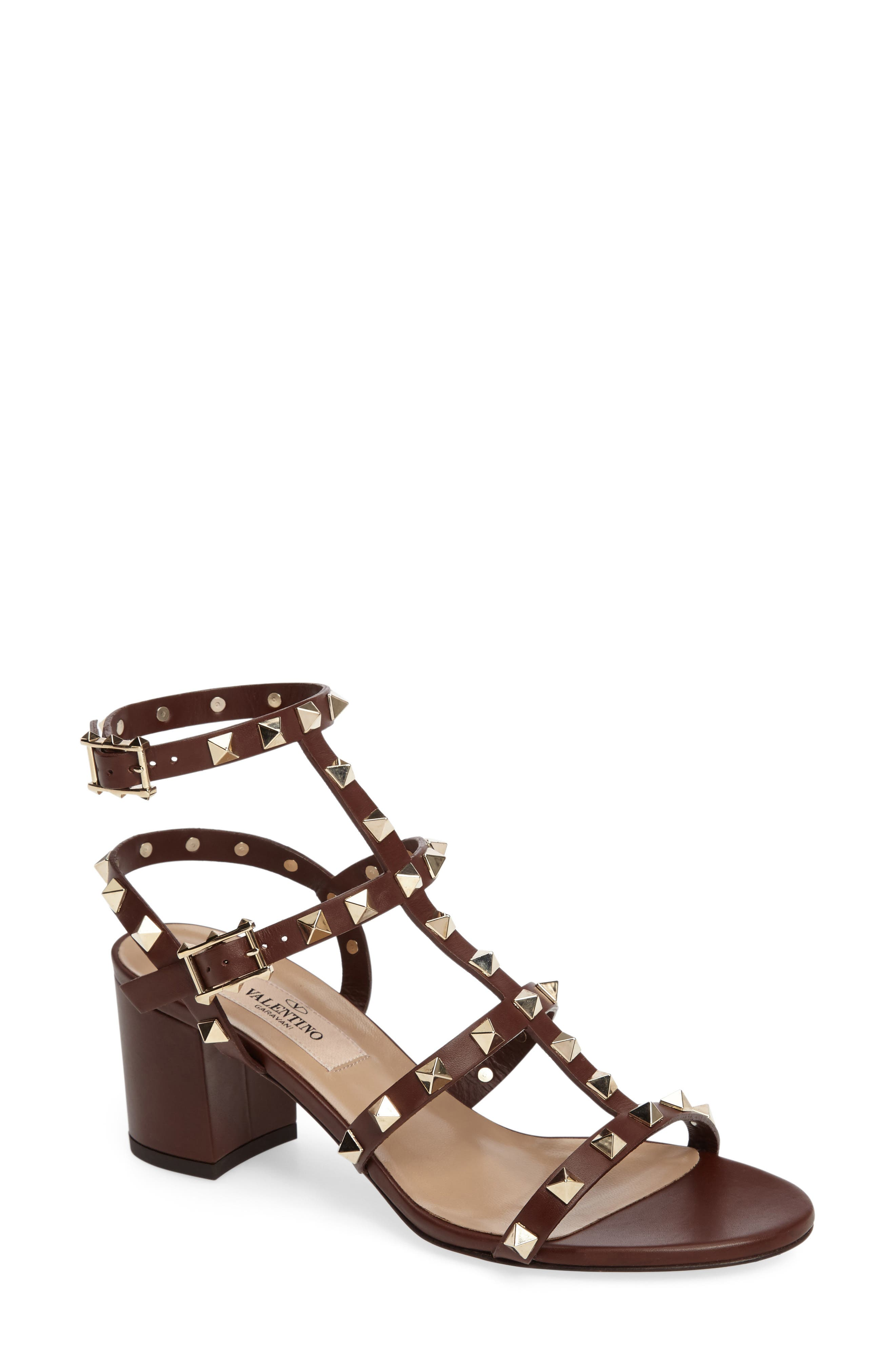 'Rockstud' Sandal,                             Main thumbnail 1, color,                             Light Brown Leather