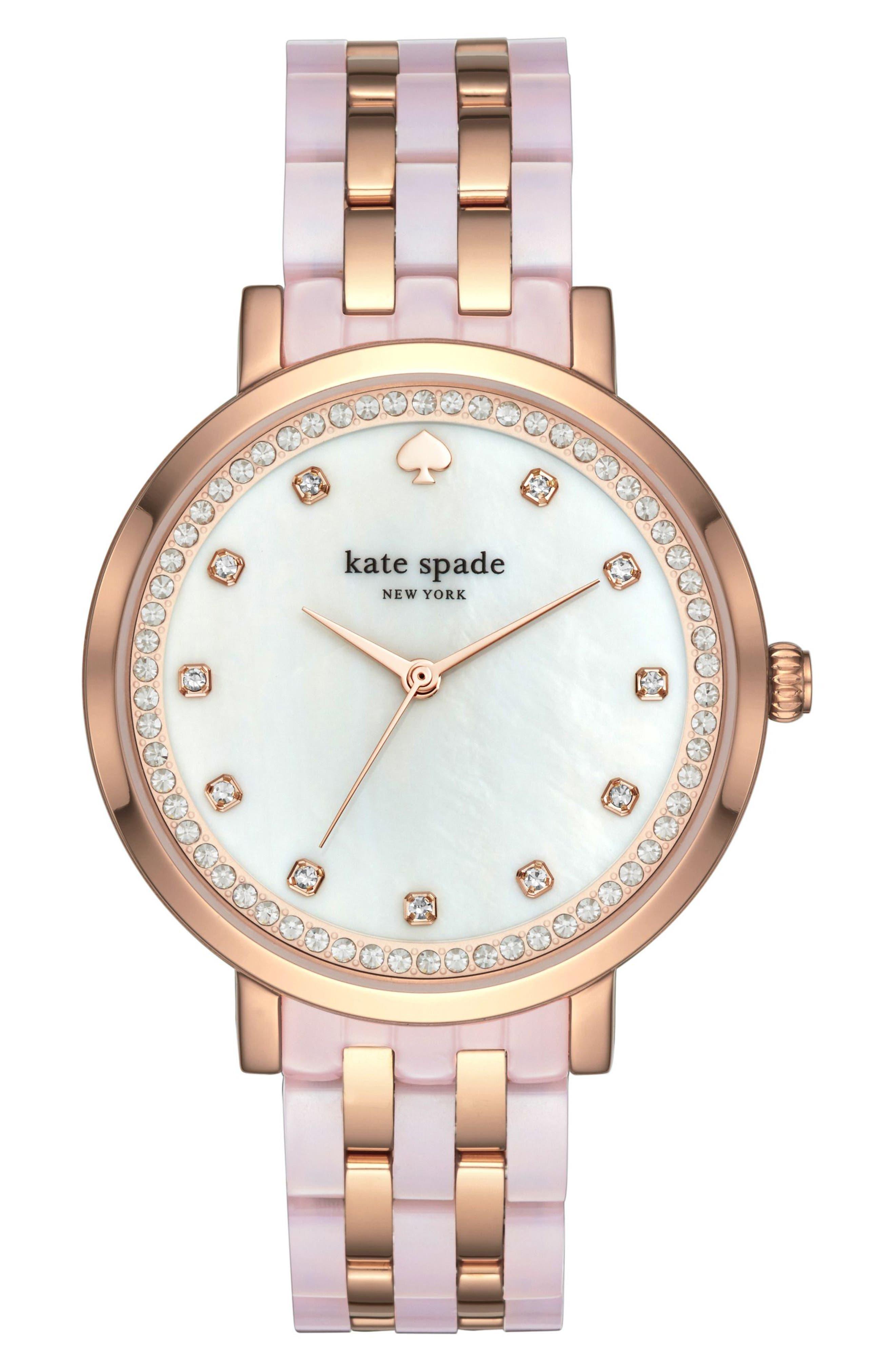 kate spade new york monterey crystal dial bracelet watch, 38mm
