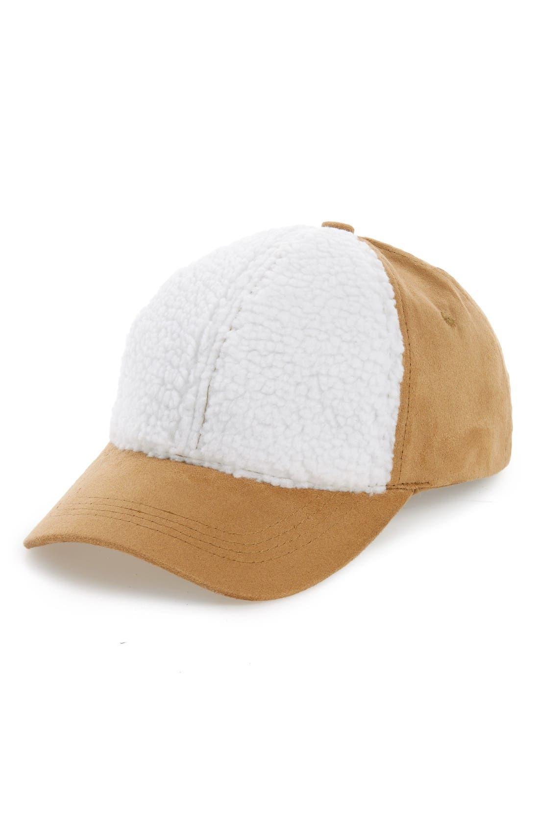 Main Image - BP. Faux Shearling Trim Ball Cap