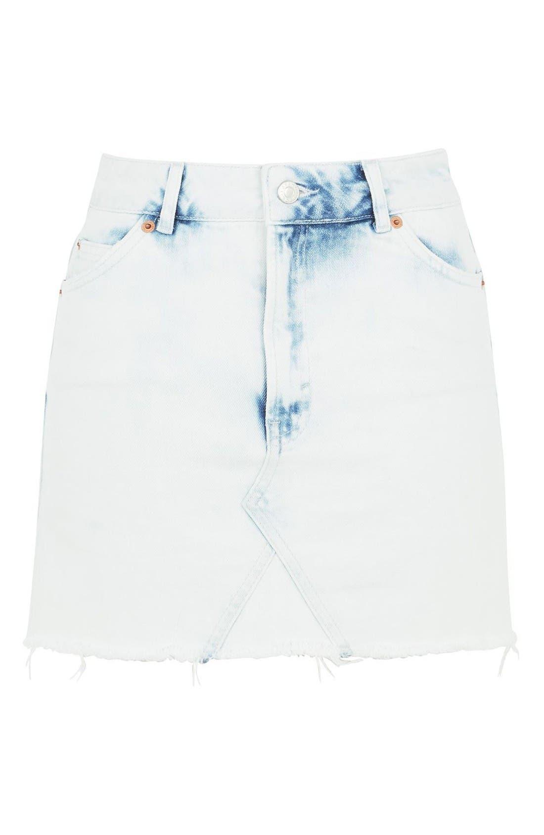Main Image - Topshop Moto Bleach Denim Miniskirt