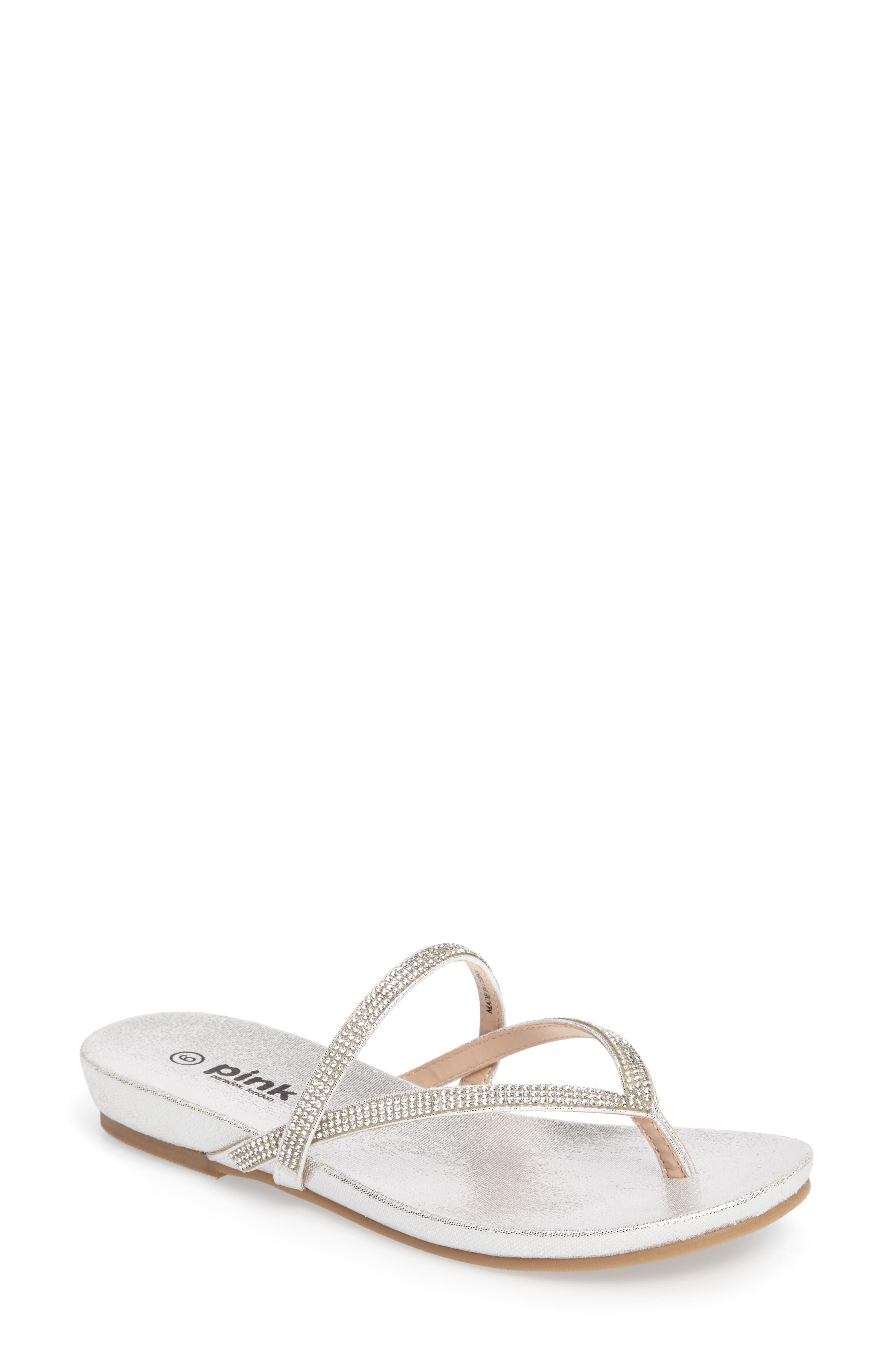 Athena Sandal,                         Main,                         color, Silver