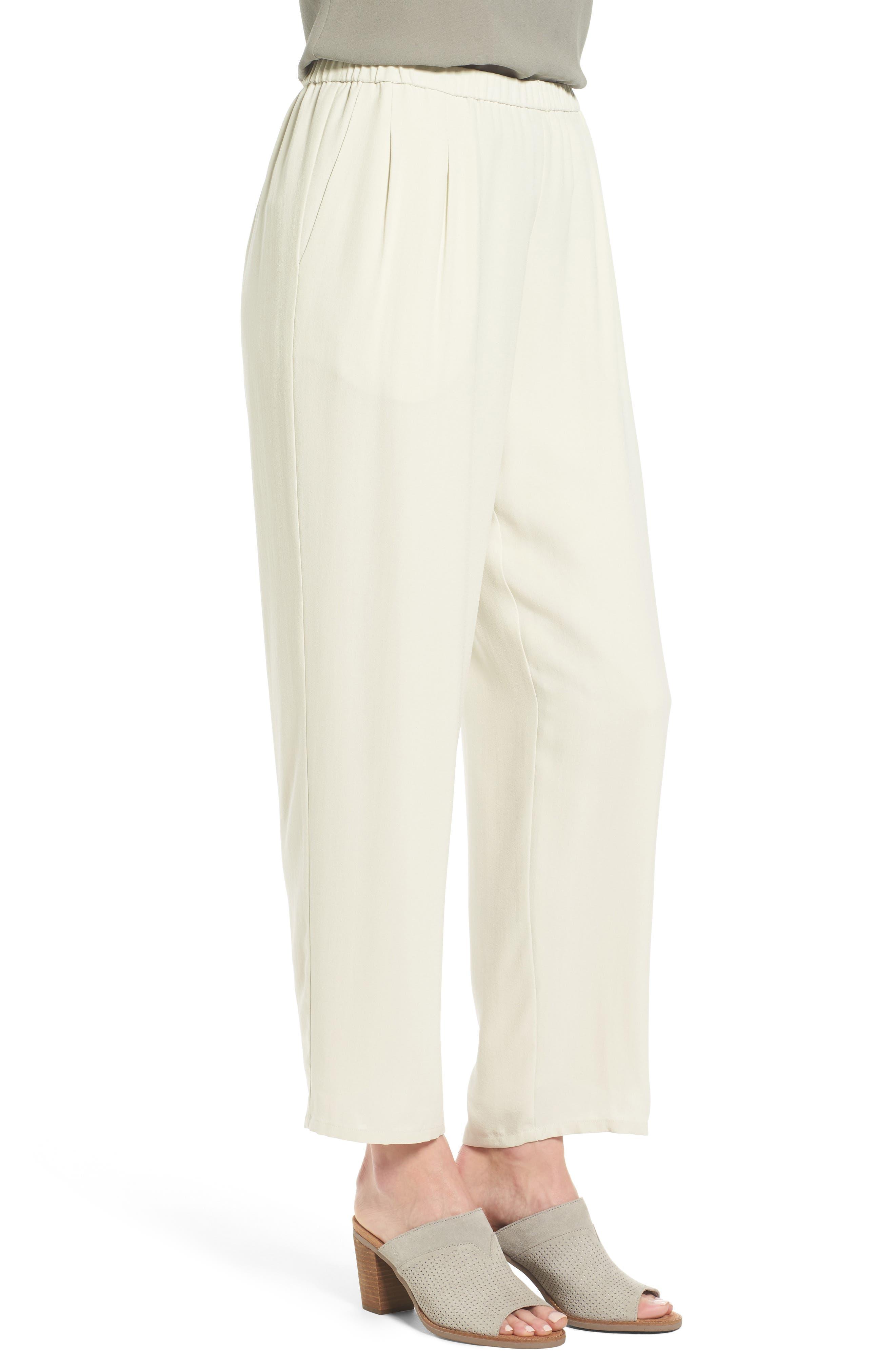 Alternate Image 3  - Eileen Fisher Silk Georgette Crepe Straight Ankle Pants (Regular & Petite)