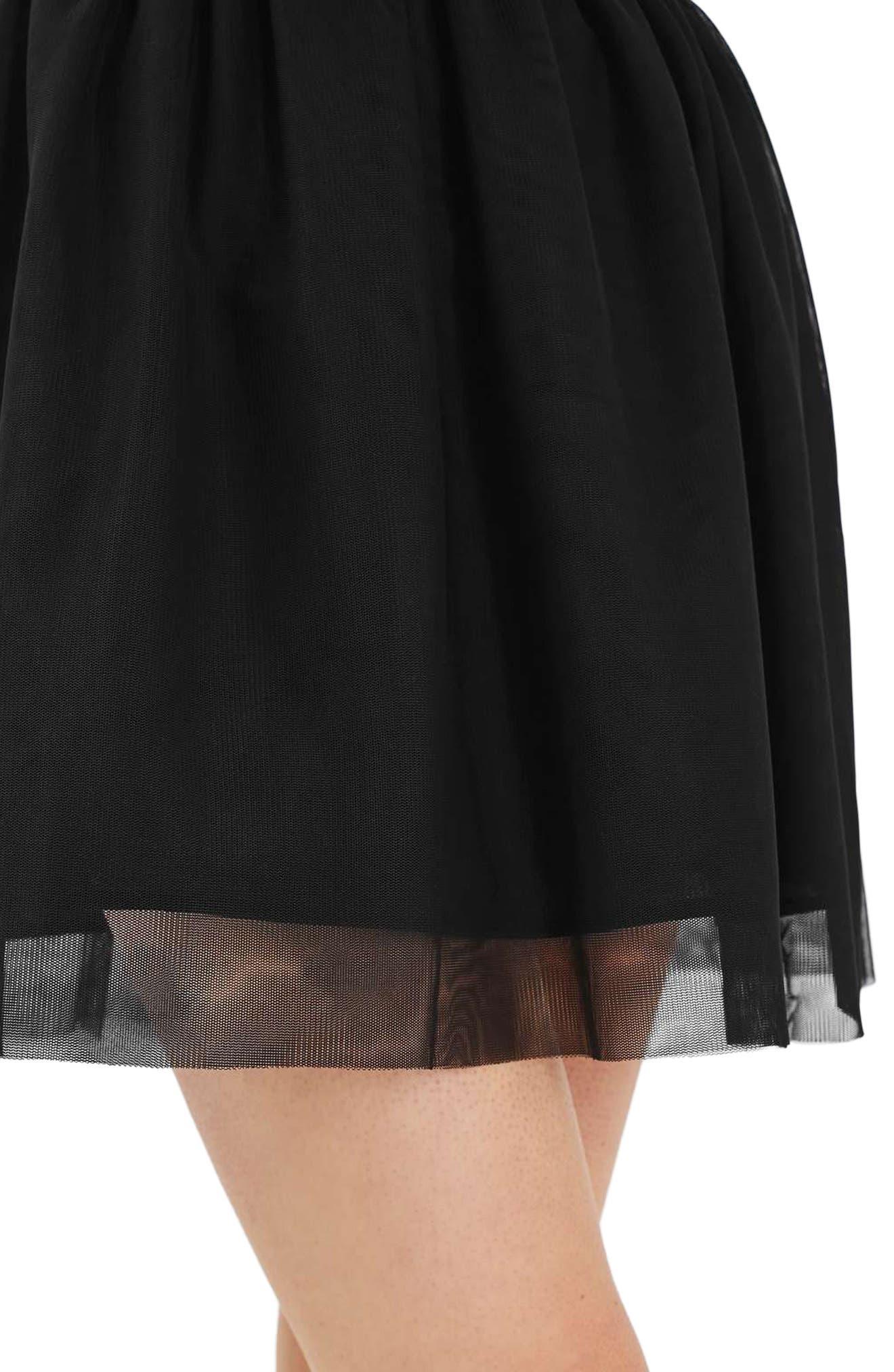 Tulle Miniskirt,                             Alternate thumbnail 4, color,                             Black