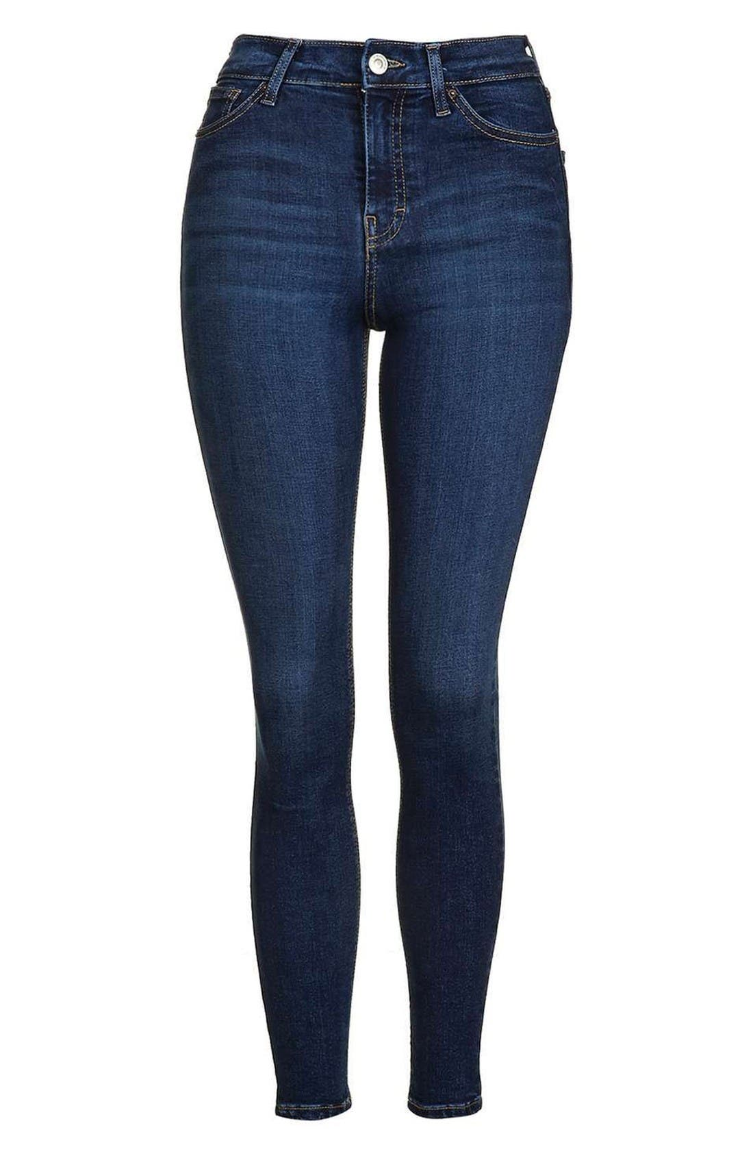 Jamie High Waist Ankle Skinny Jeans,                             Alternate thumbnail 4, color,                             Indigo