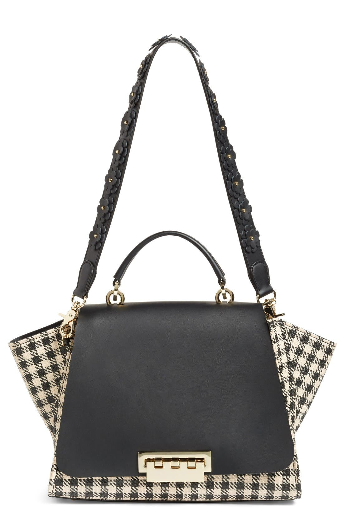 Eartha Gingham Straw Top Handle Satchel with Flower Guitar Strap,                         Main,                         color, Black Gingham