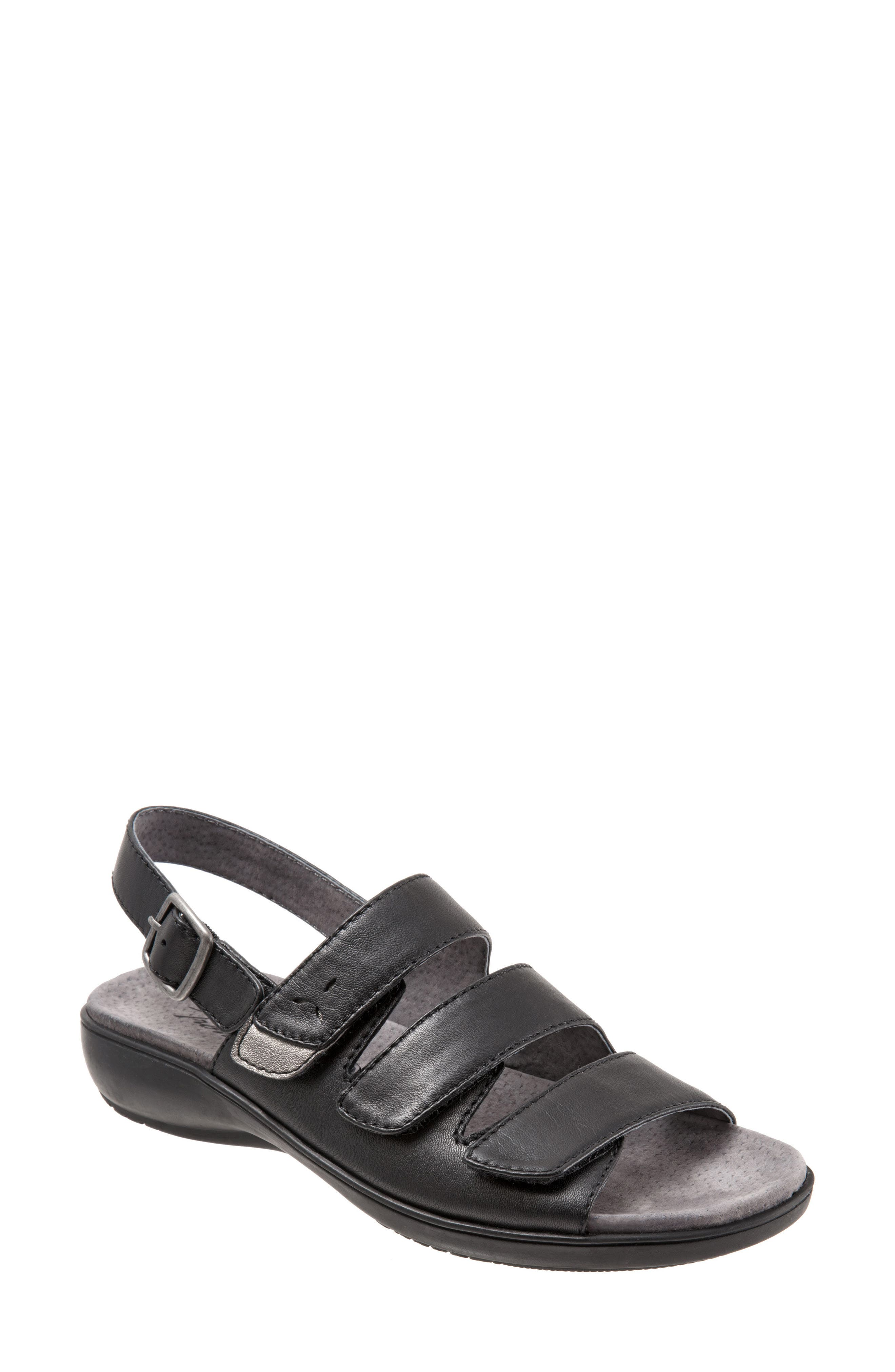 Kendra Strappy Slingback Sandal,                         Main,                         color, Black Leather