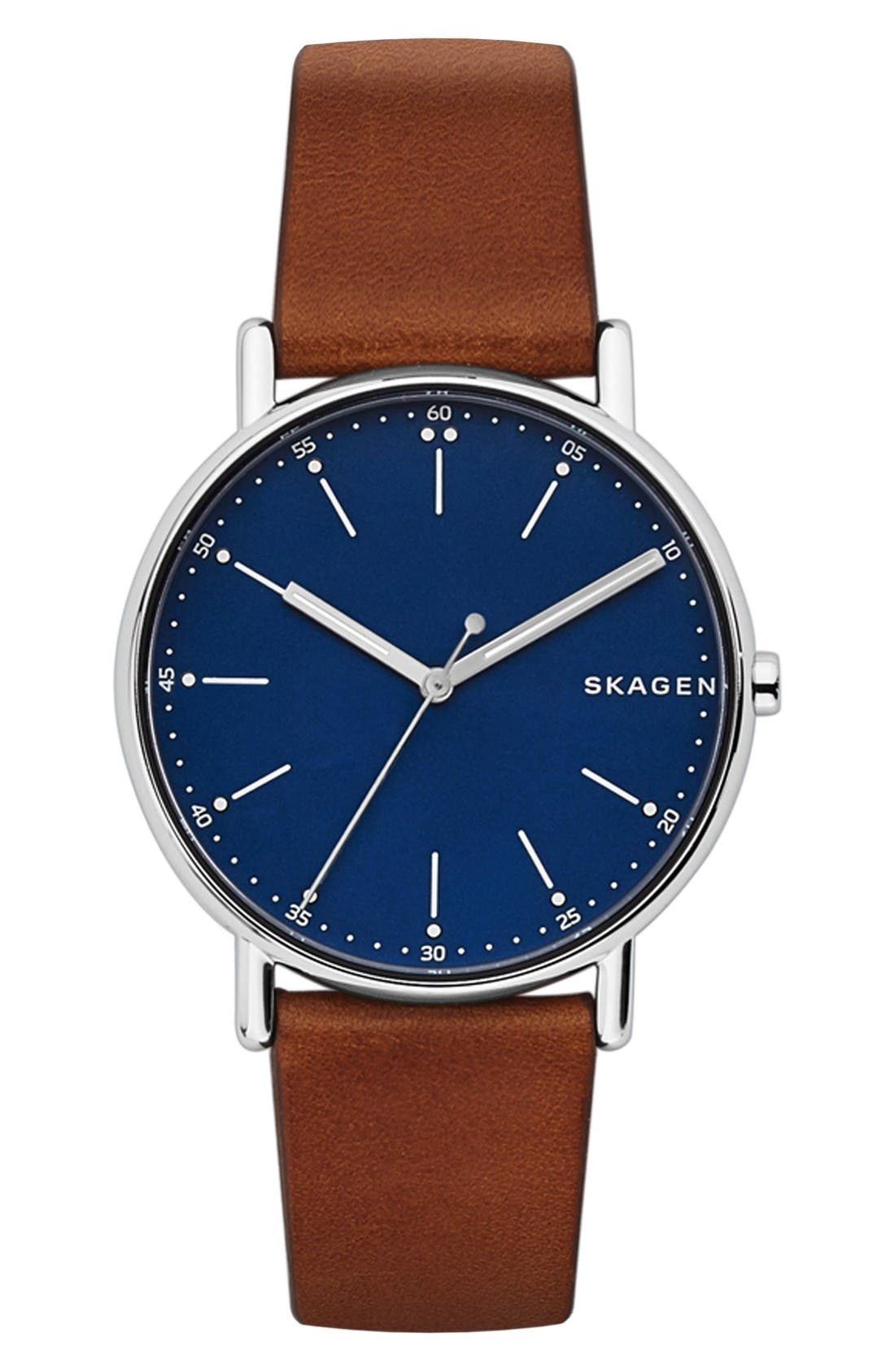 Round Leather Strap Watch, 40mm,                             Main thumbnail 1, color,                             Brown/ Blue/ Silver