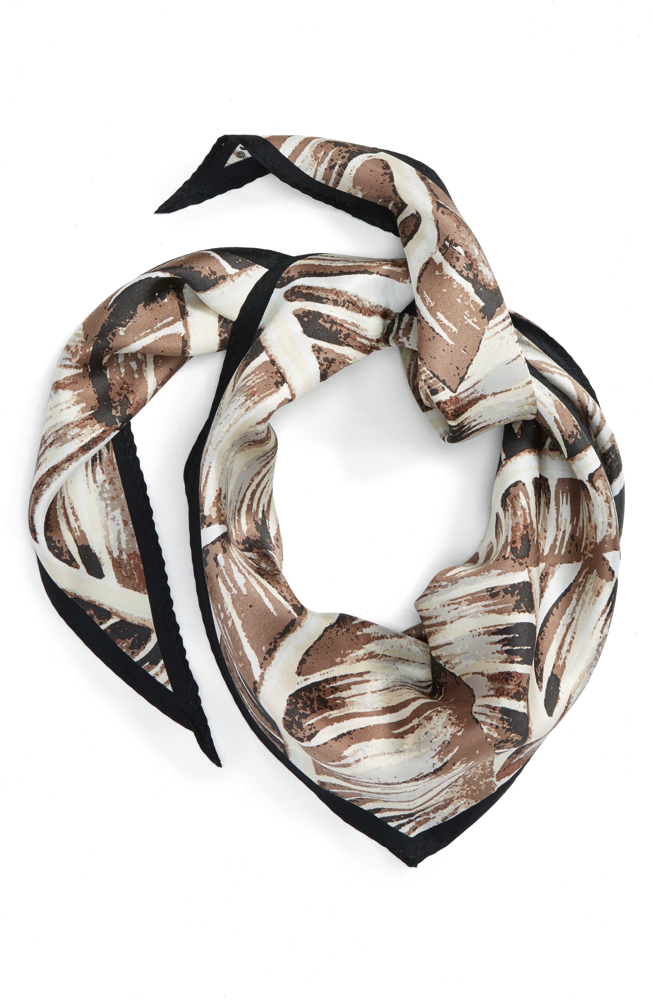 Palm Silk Scarf,                         Main,                         color, White Sand