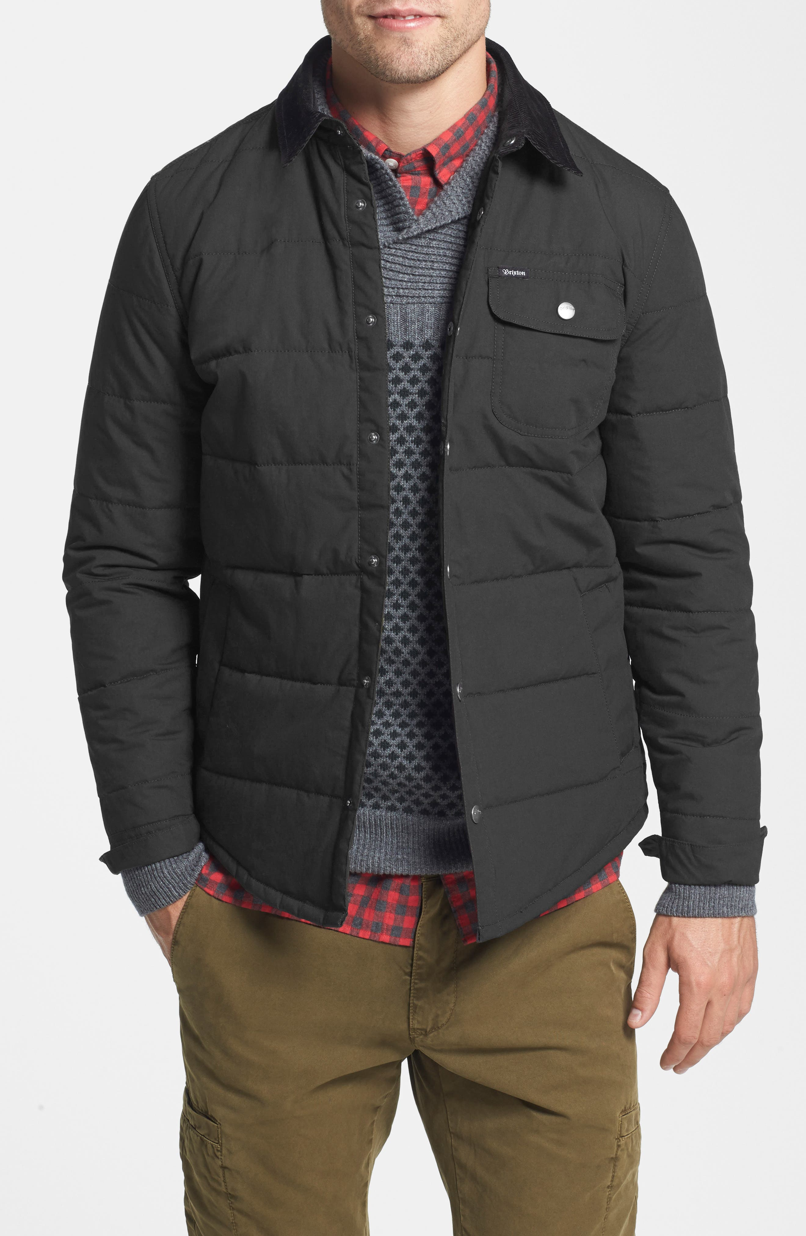 'Cass' Quilted Shirt Jacket with Corduroy Collar,                             Main thumbnail 1, color,                             Black/ Black