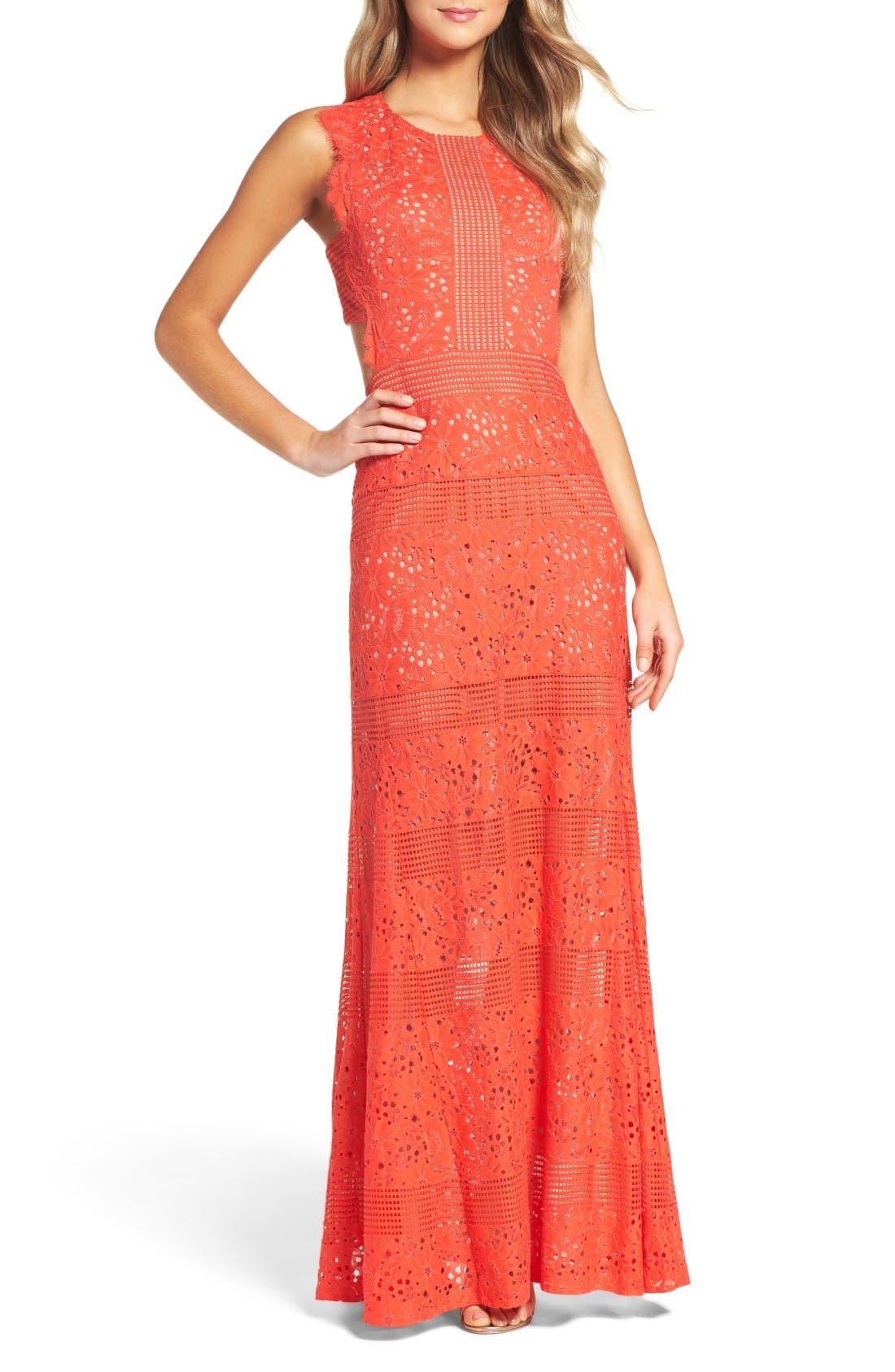 Main Image - BCBGMAXAZRIA Merida Open Back Lace Gown