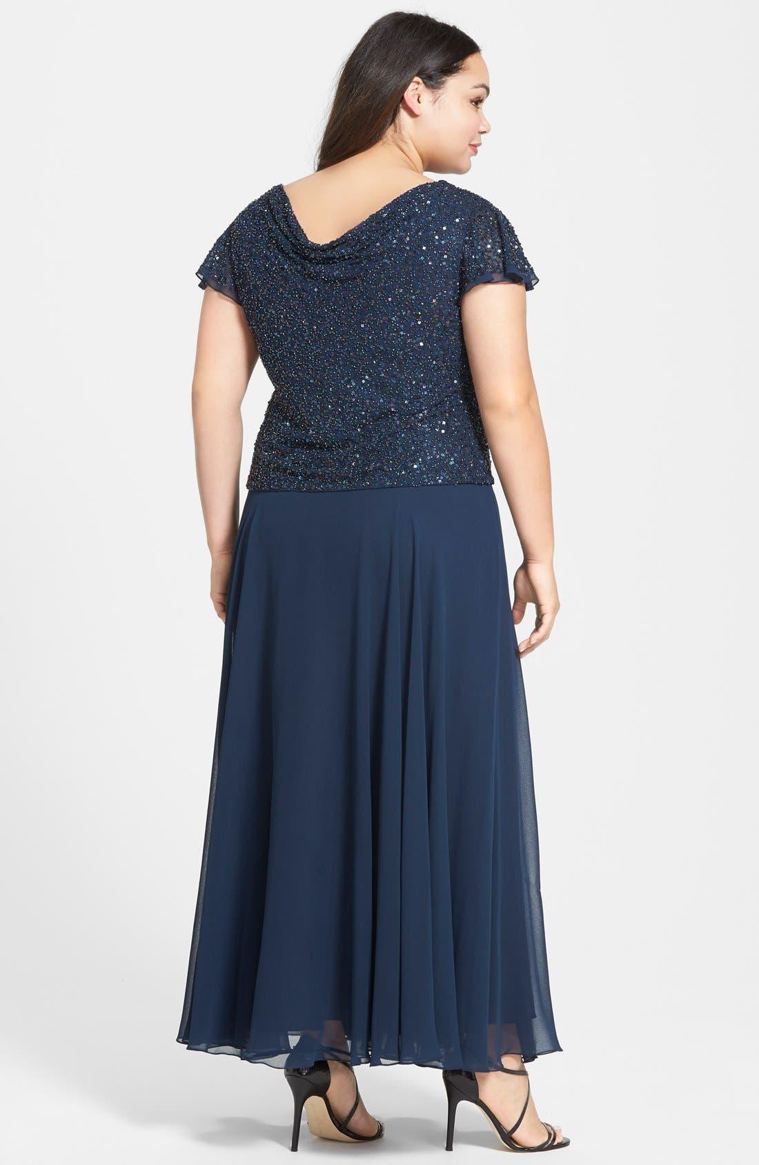 Alternate Image 2  - J Kara Mock Two Piece Sequin & Chiffon Gown (Plus Size)