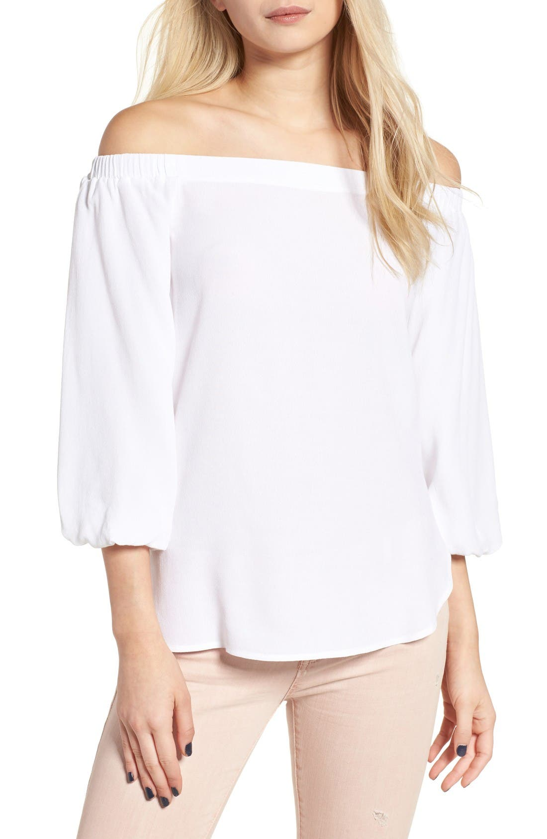 Alternate Image 1 Selected - Soprano Bubble Sleeve Off the Shoulder Top
