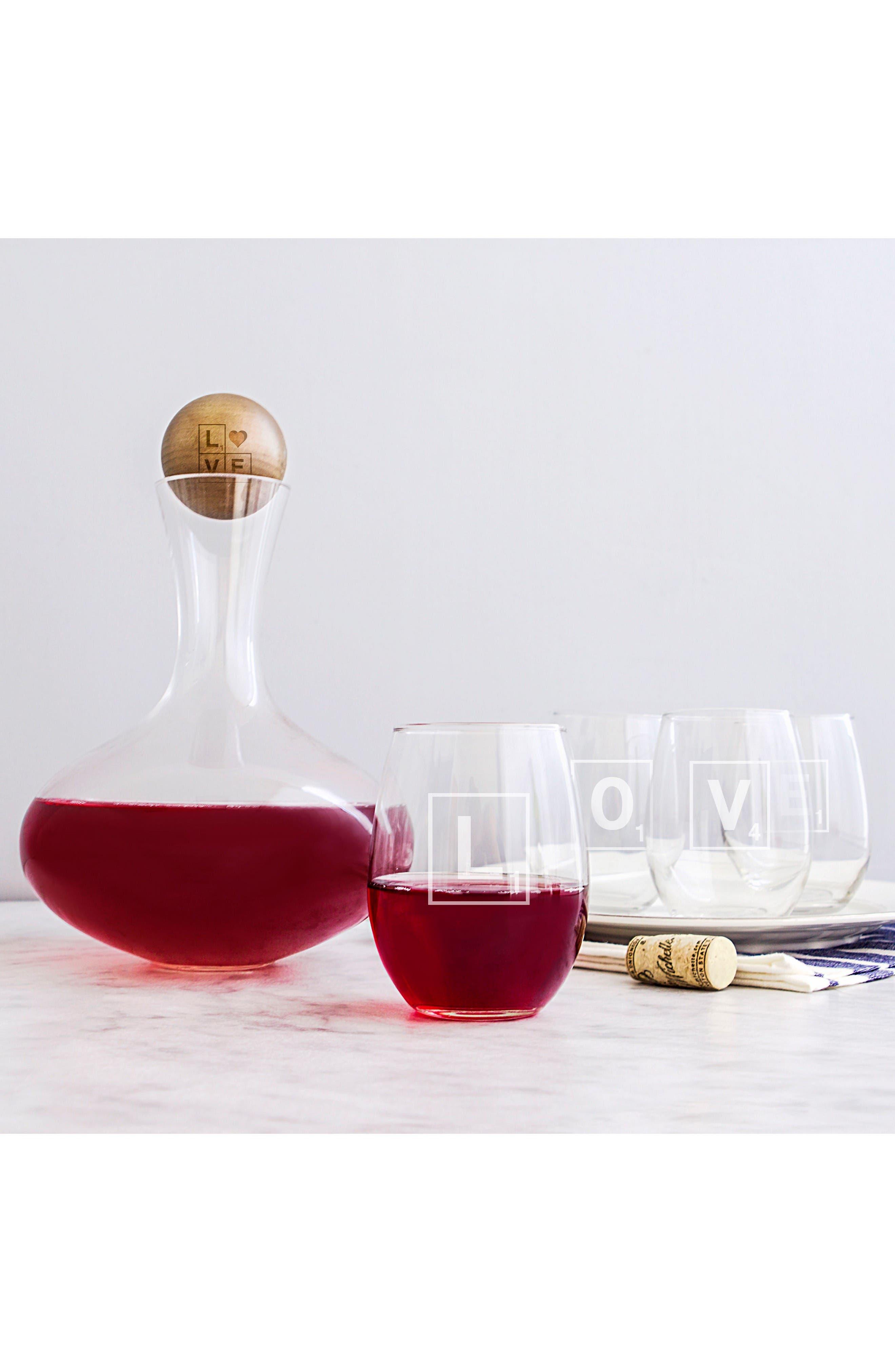 Valentine Glass 6-Piece Decanter & Glasses Set,                         Main,                         color, Love Letter
