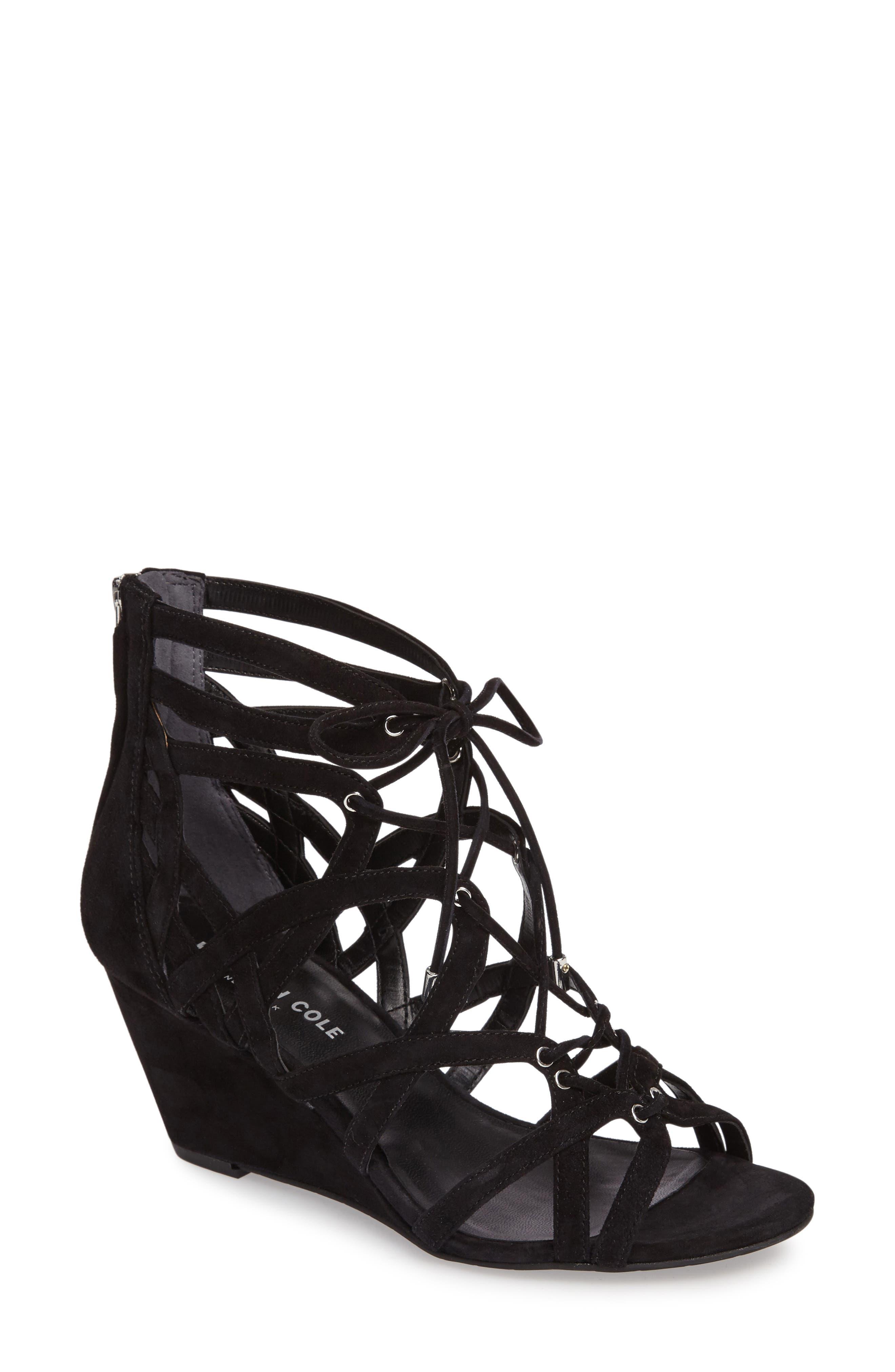 'Dylan' Wedge Sandal,                         Main,                         color, Black Suede