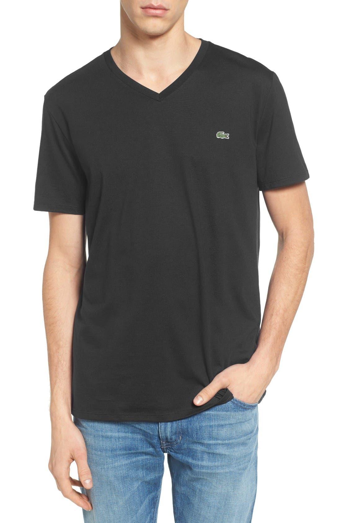 V-Neck T-Shirt,                             Main thumbnail 1, color,                             Black