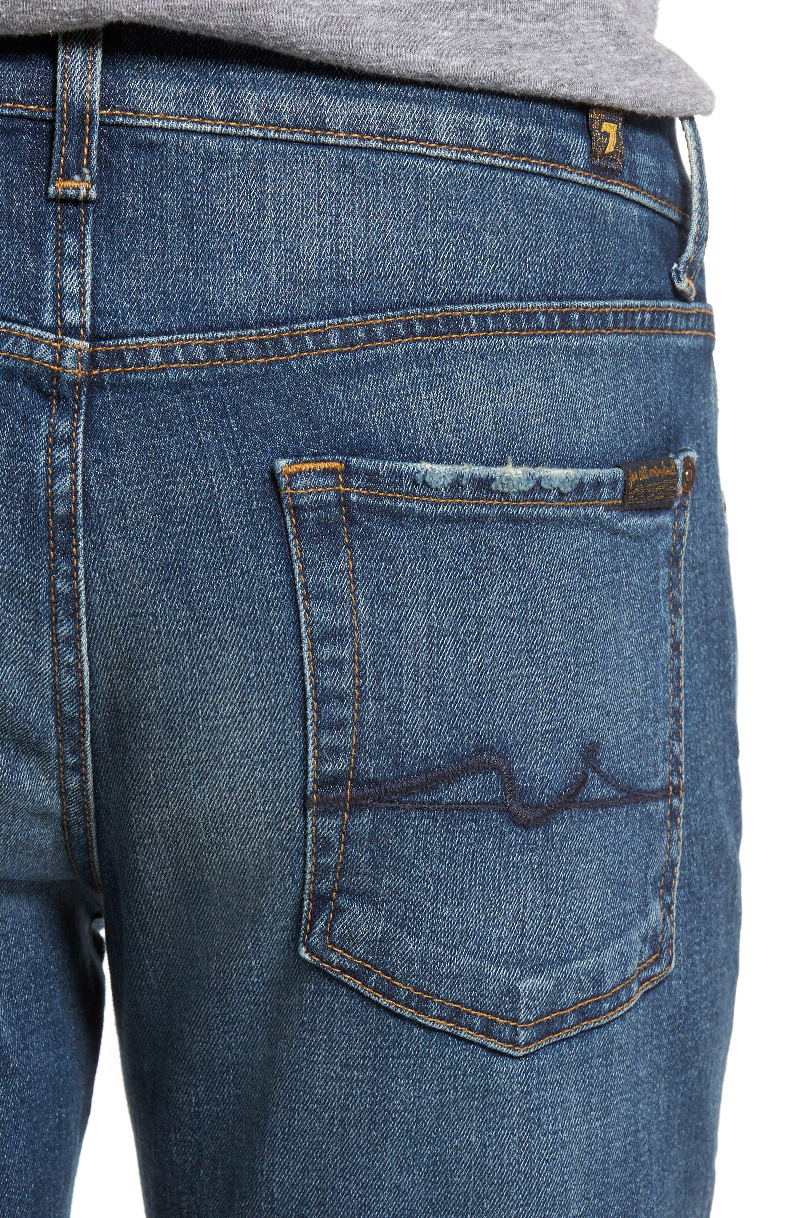 Alternate Image 4  - 7 For All Mankind® Slimmy Slim Fit Jeans (Carolina Tide)