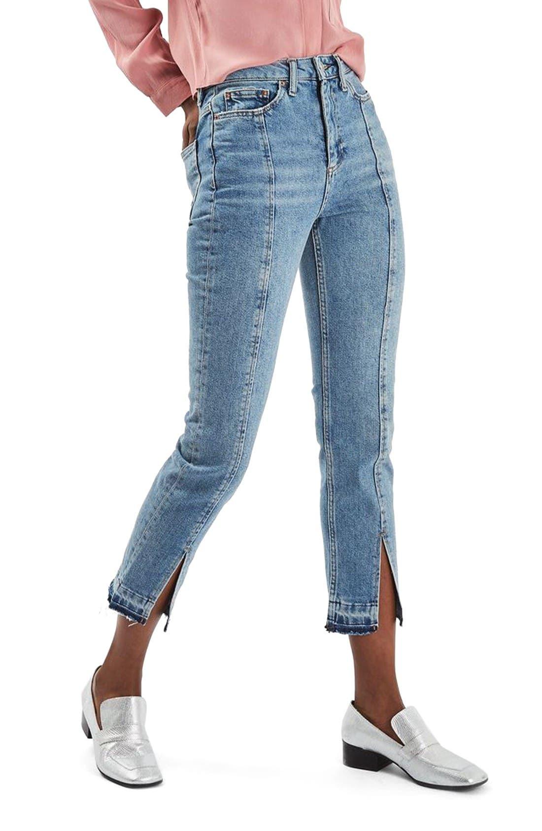 Alternate Image 1 Selected - Topshop Split Hem Straight Leg Jeans