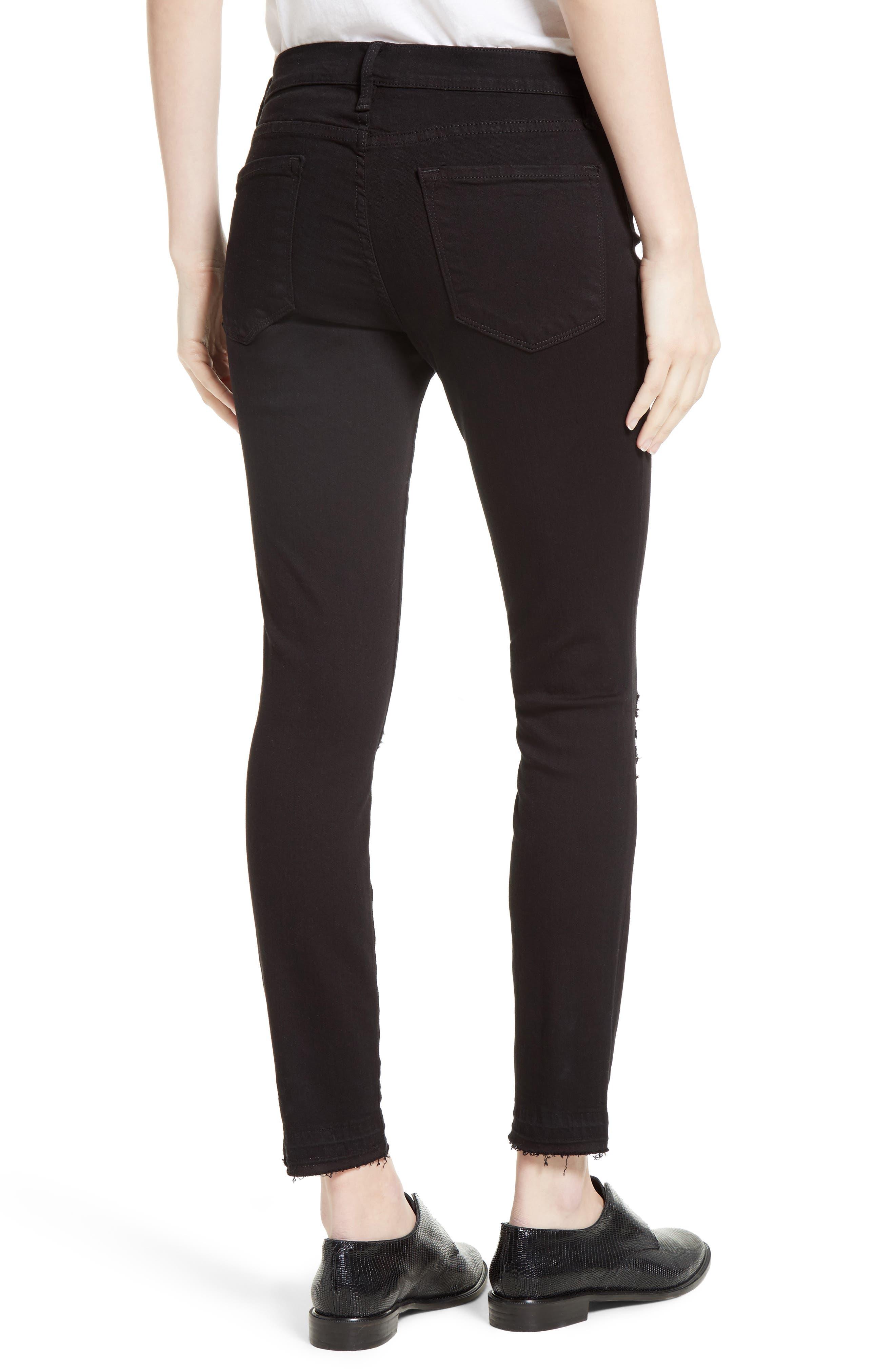 Alternate Image 2  - FRAME Distressed Release Hem Skinny Jeans