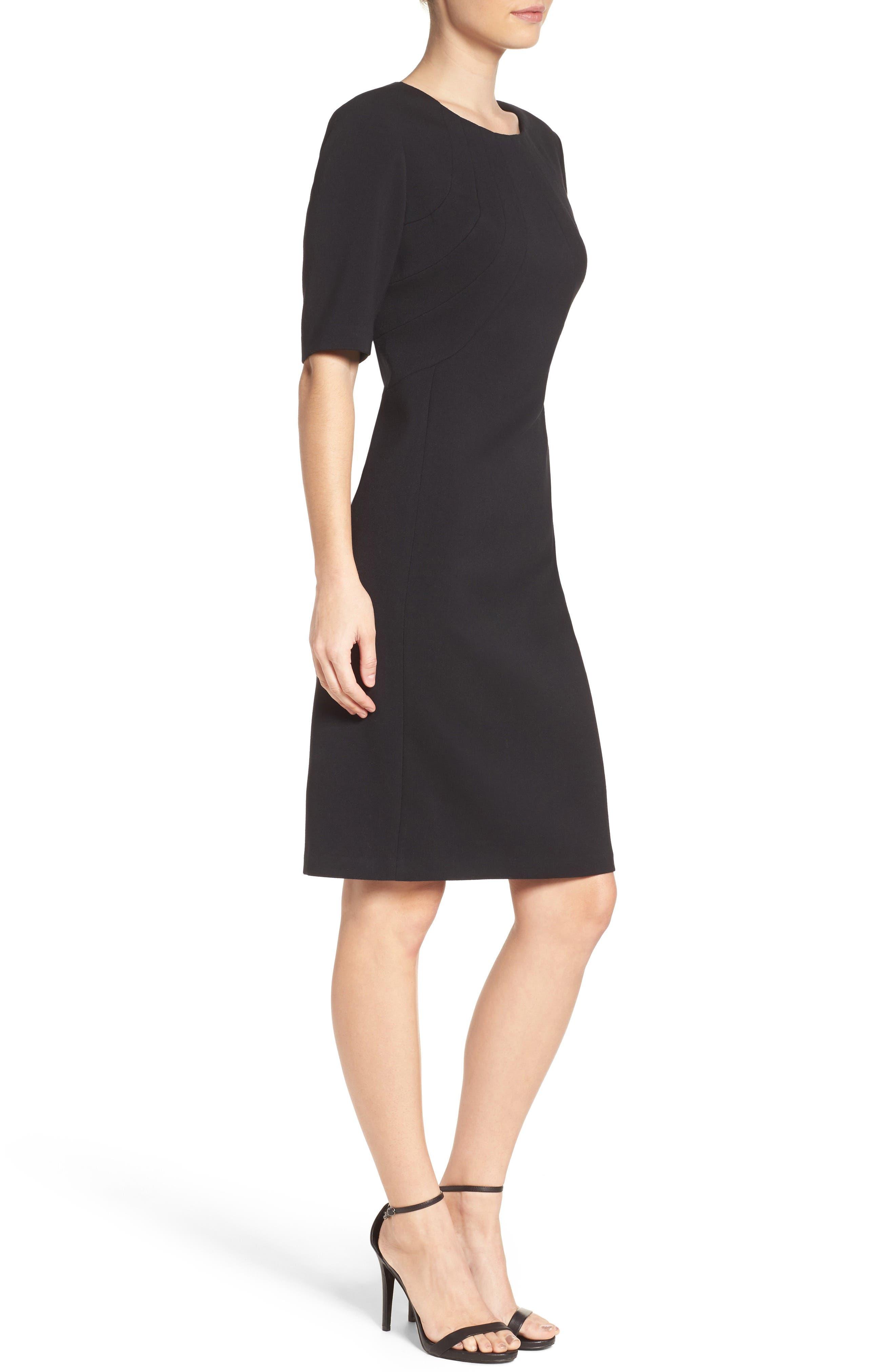 Crepe Sheath Dress,                             Alternate thumbnail 4, color,                             Black