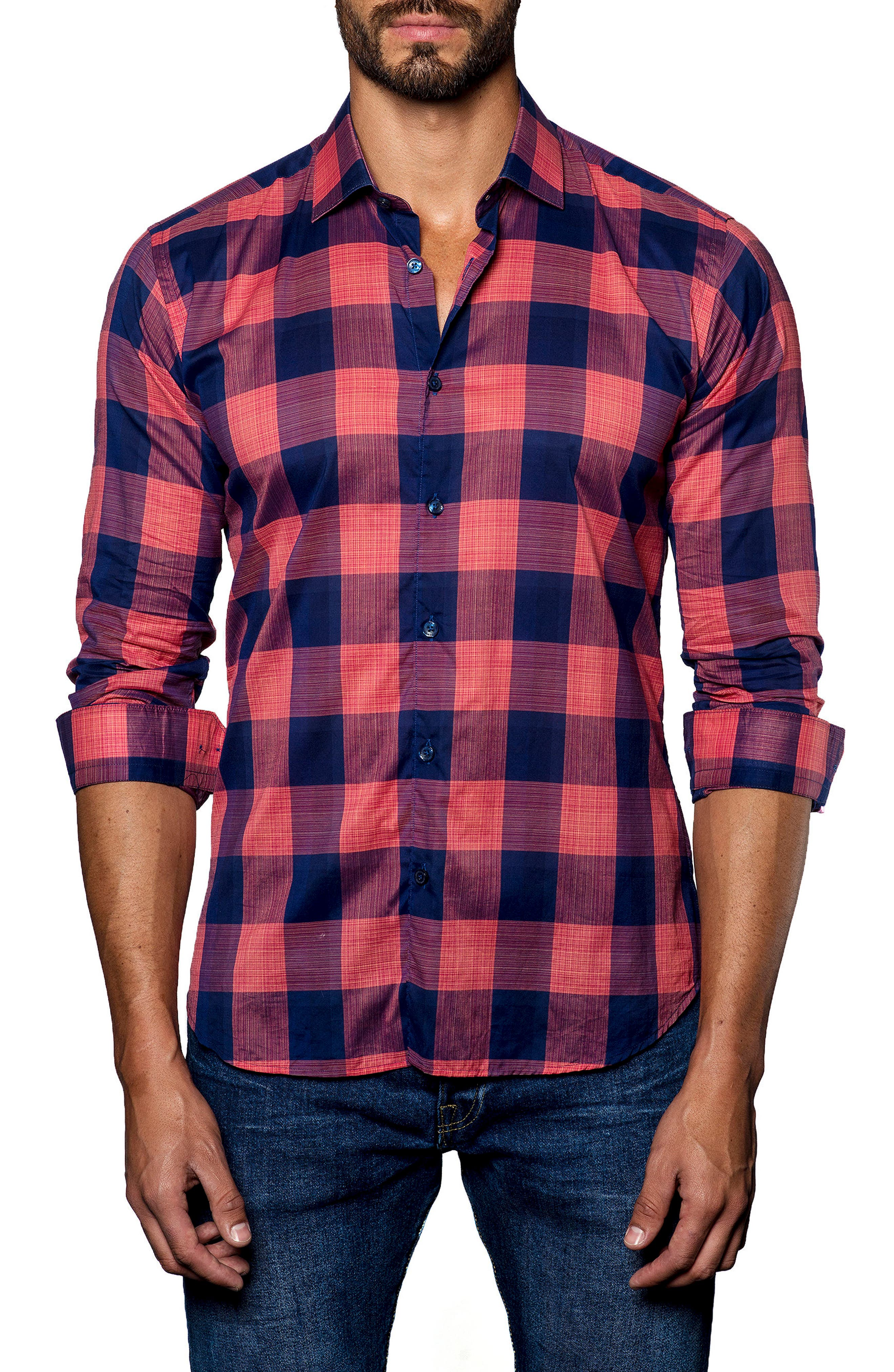 JARED LANG Plaid Sport Shirt