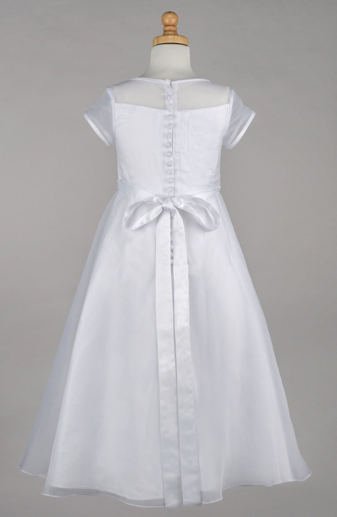 Beaded A-Line First Communion Dress,                             Alternate thumbnail 2, color,                             White