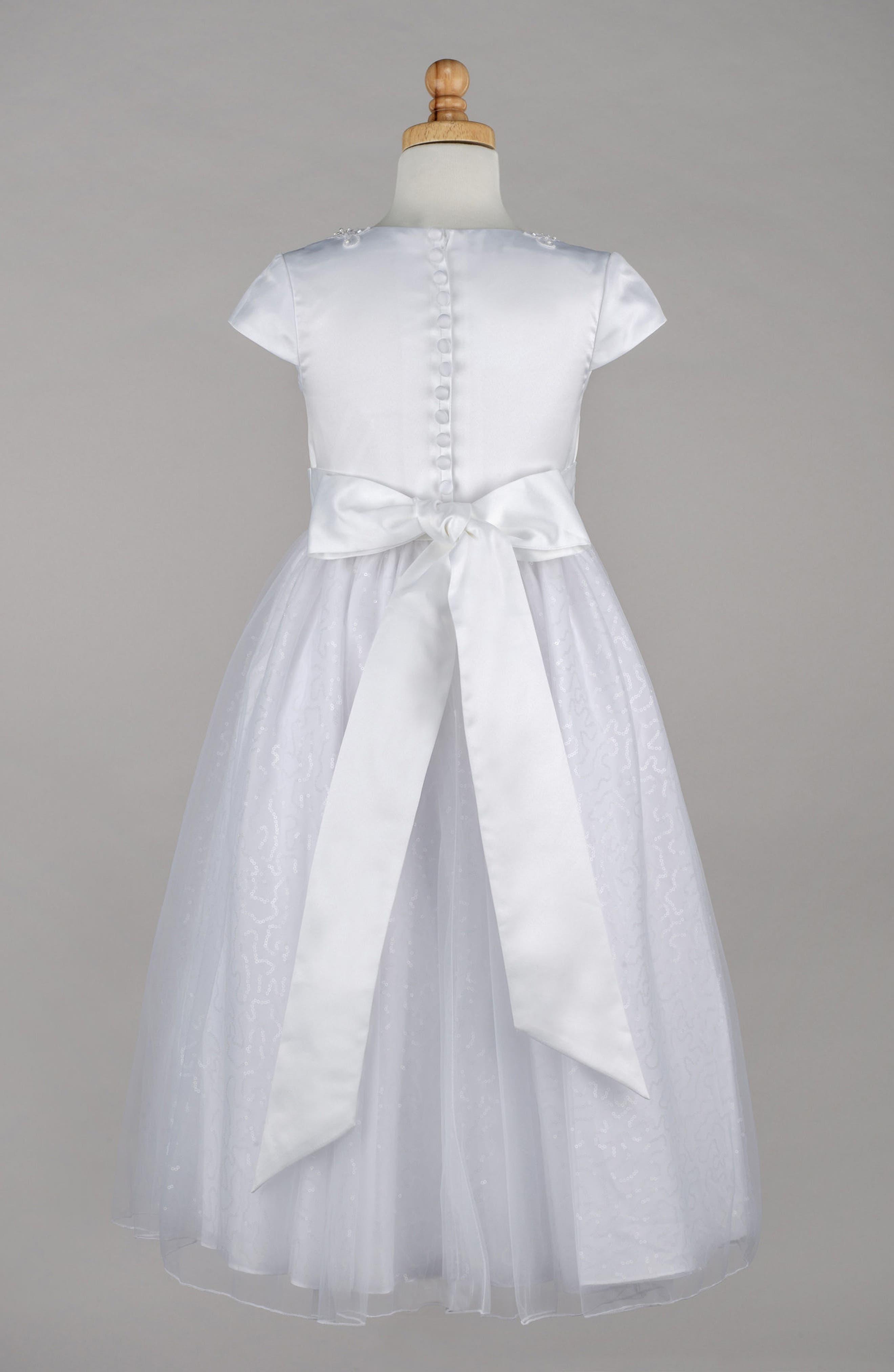 Beaded First Communion Dress,                             Alternate thumbnail 2, color,                             White