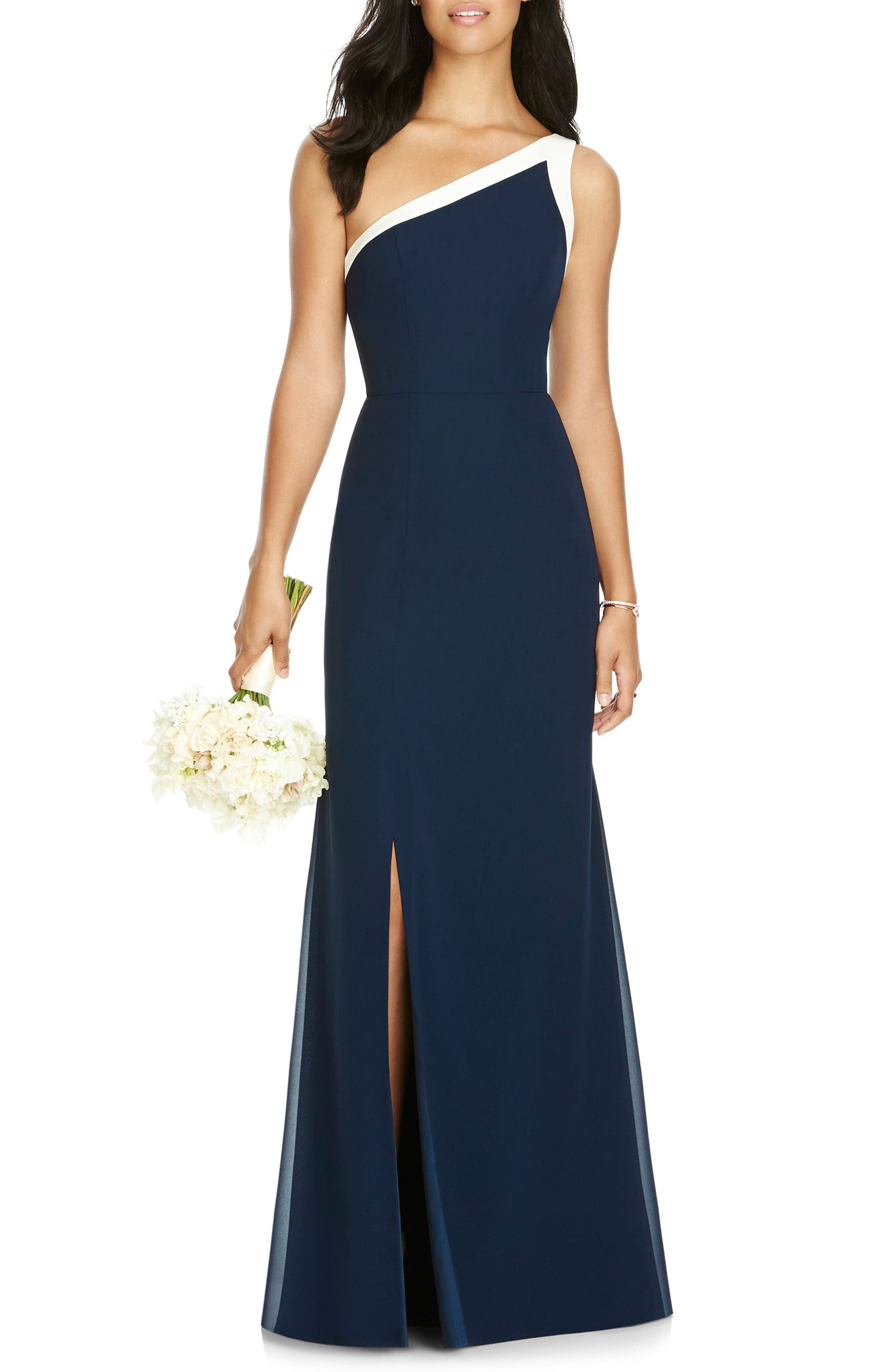 Social Bridesmaids One-Shoulder Chiffon Gown