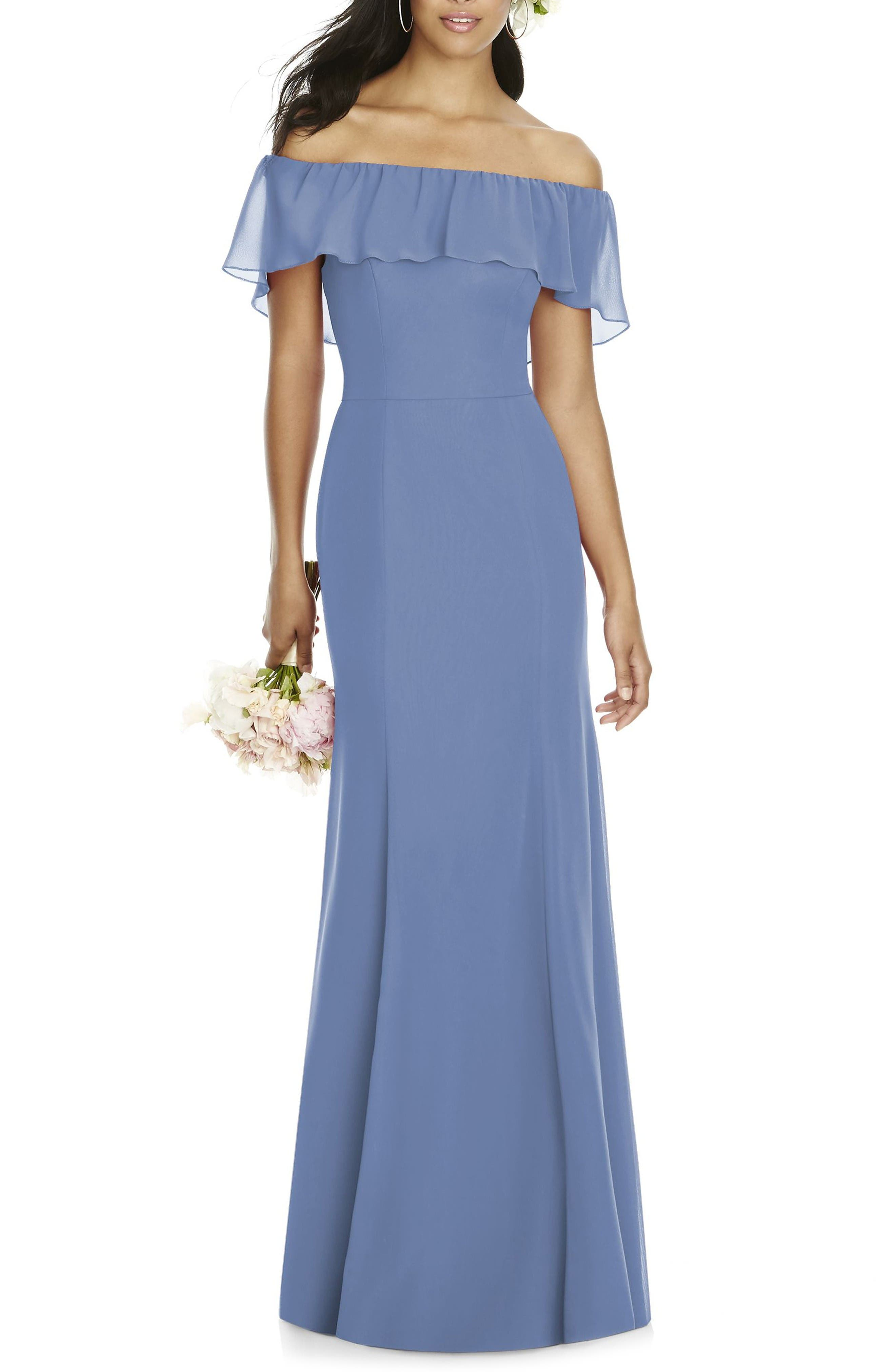 Ruffle Off the Shoulder Chiffon Gown,                         Main,                         color, Larkspur