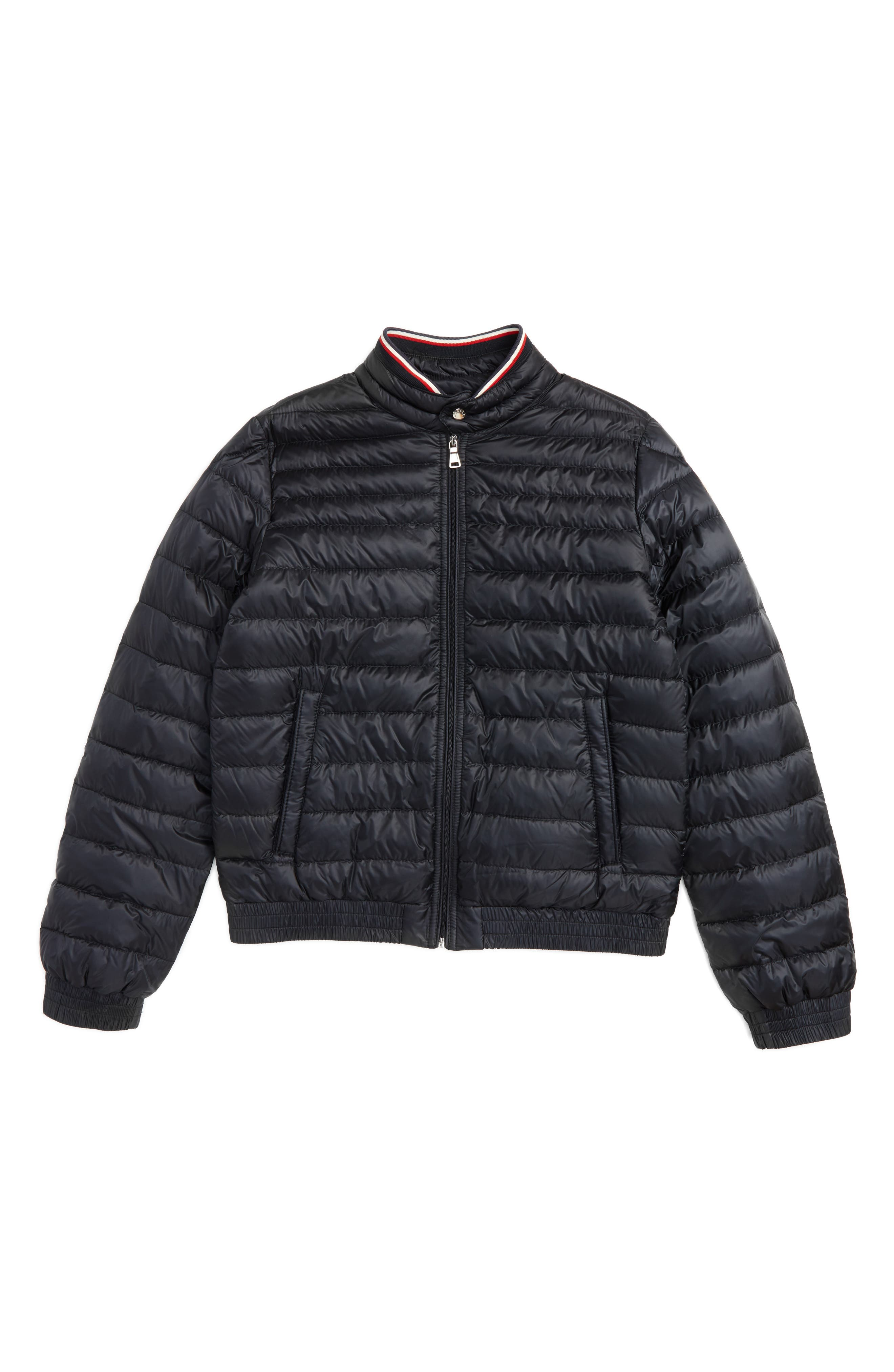 Main Image - Moncler Garin Water Resistant Down Moto Jacket (Little Kids & Big Kids)